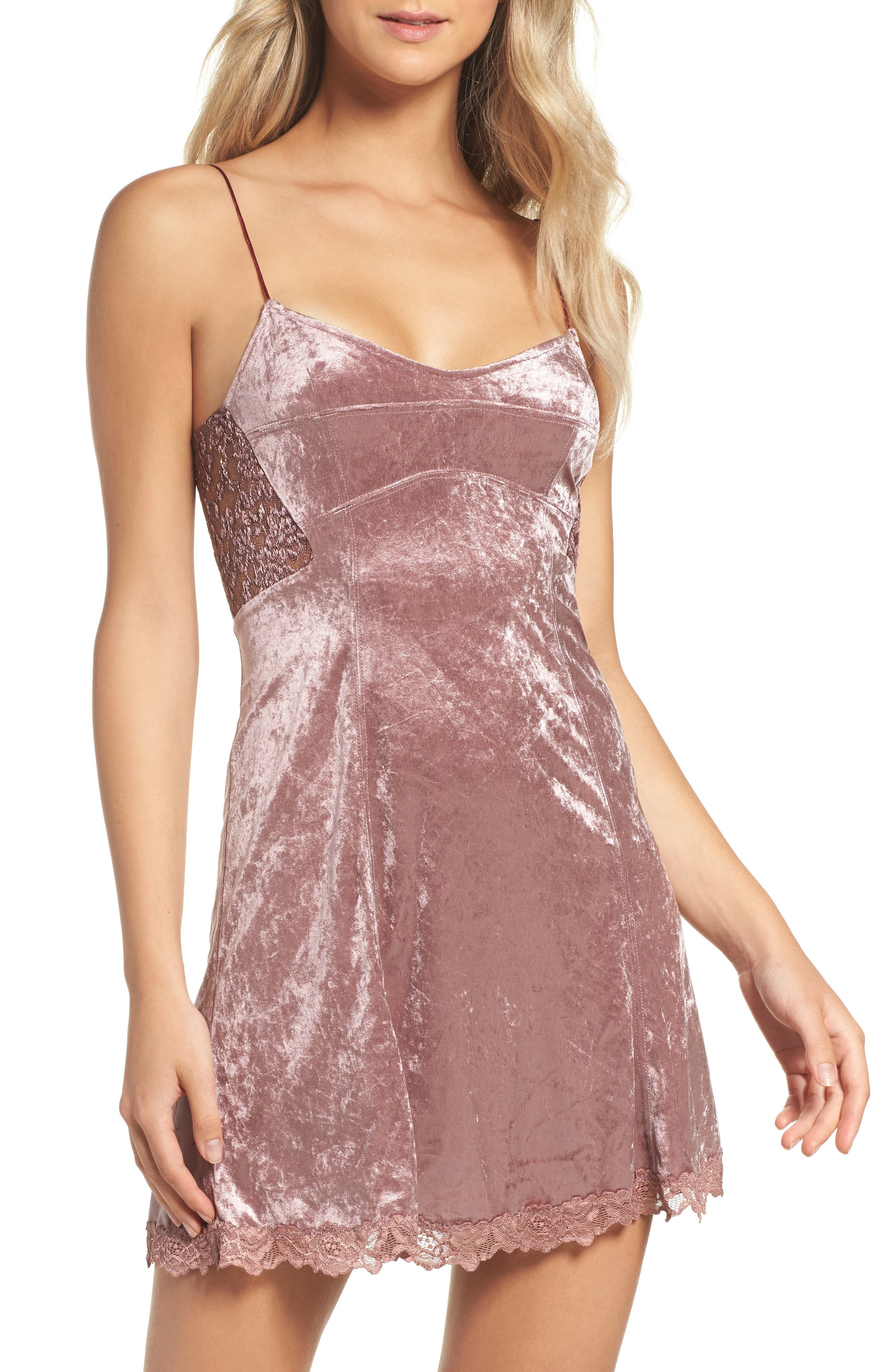 Intimately FP Velvet Chemise,                             Main thumbnail 1, color,                             Mauve
