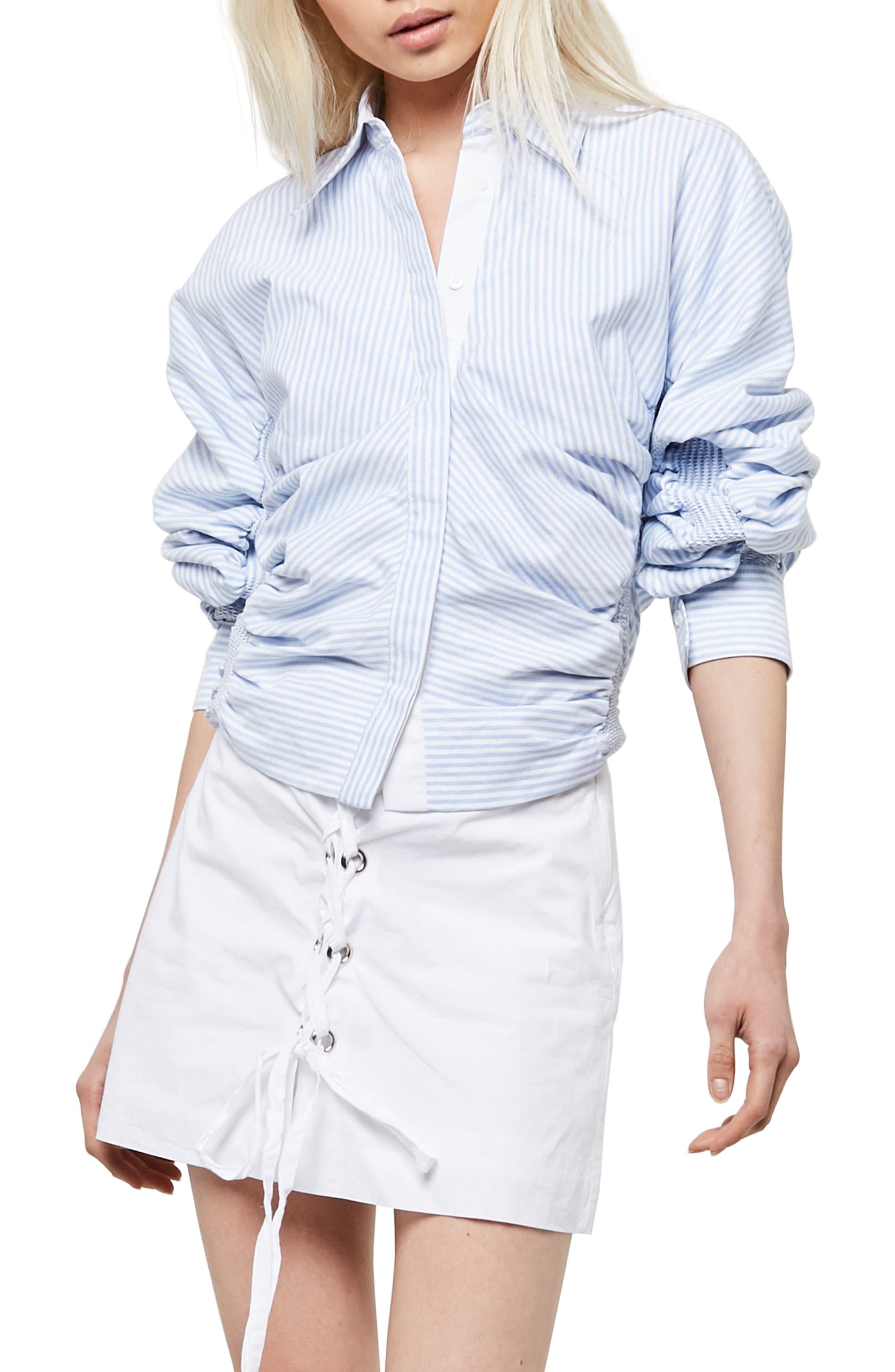 Alpha & Omega Smocked Sleeve Blouse,                         Main,                         color, Light Blue