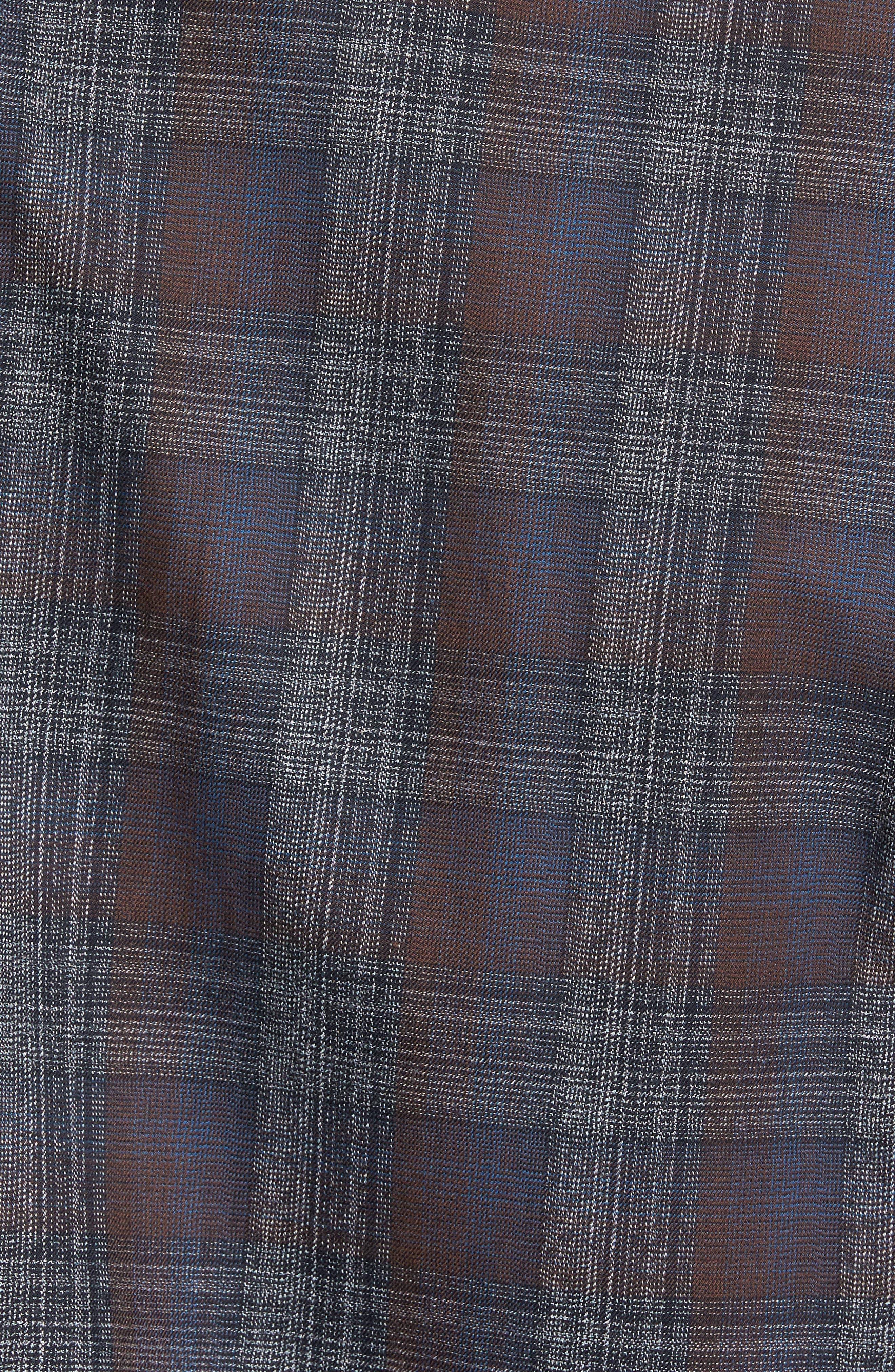 Trim Fit Plaid Sport Shirt,                             Alternate thumbnail 6, color,                             290 Brown Grey Plaid