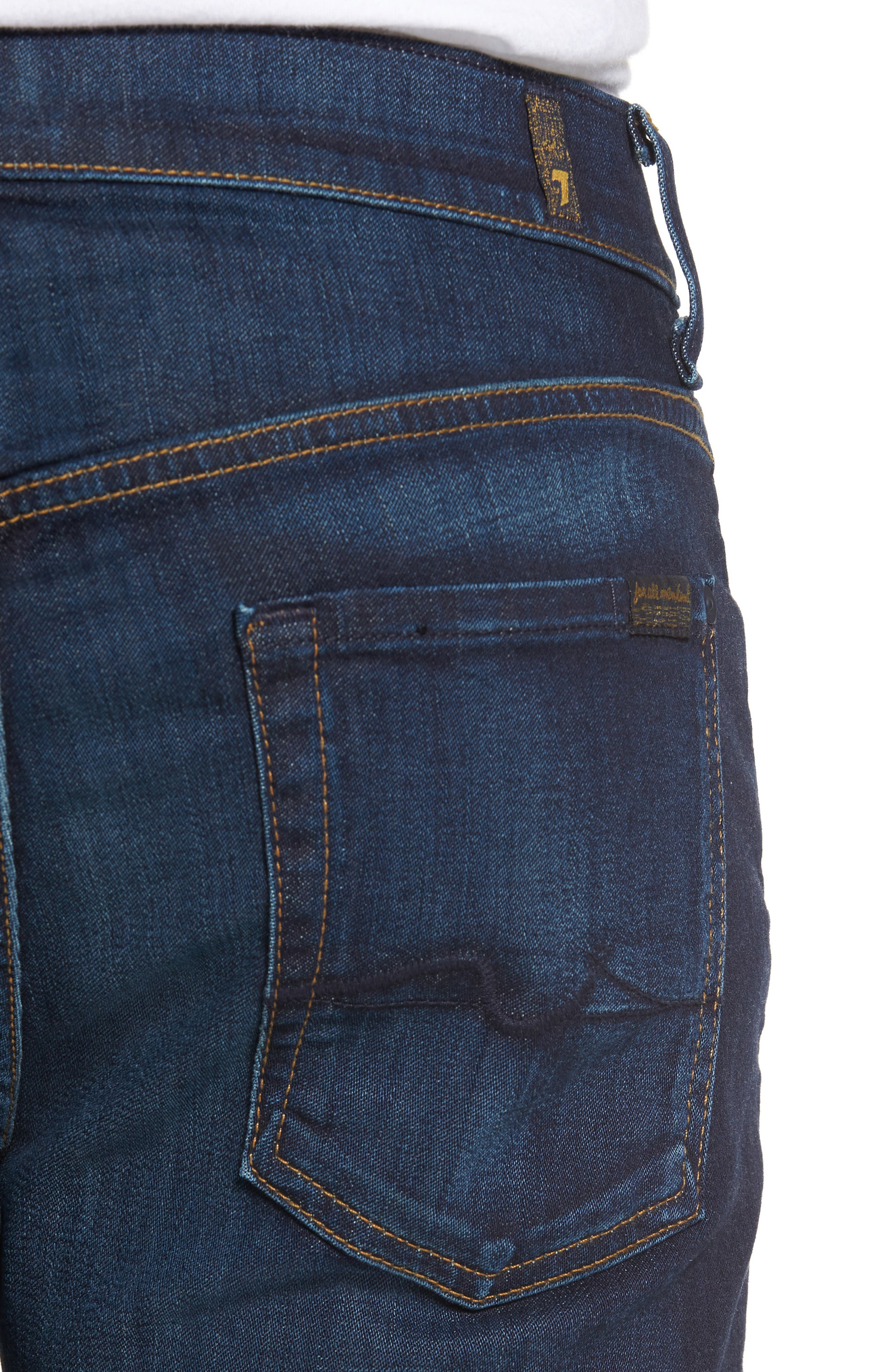 Luxe Performance Straight Leg Jeans,                             Alternate thumbnail 4, color,                             North Pacific