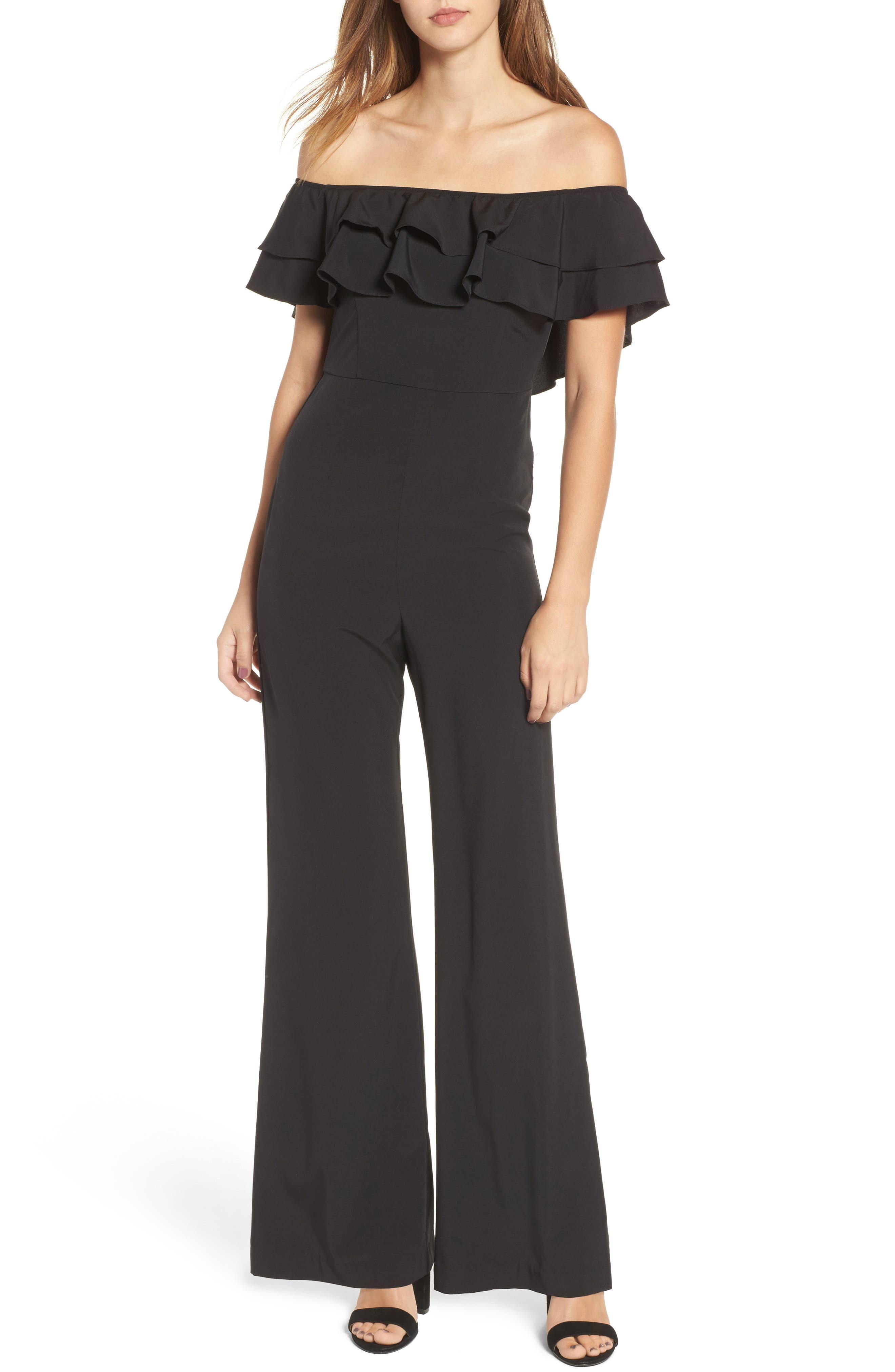 Alternate Image 1 Selected - Socialite Ruffle Front Jumpsuit