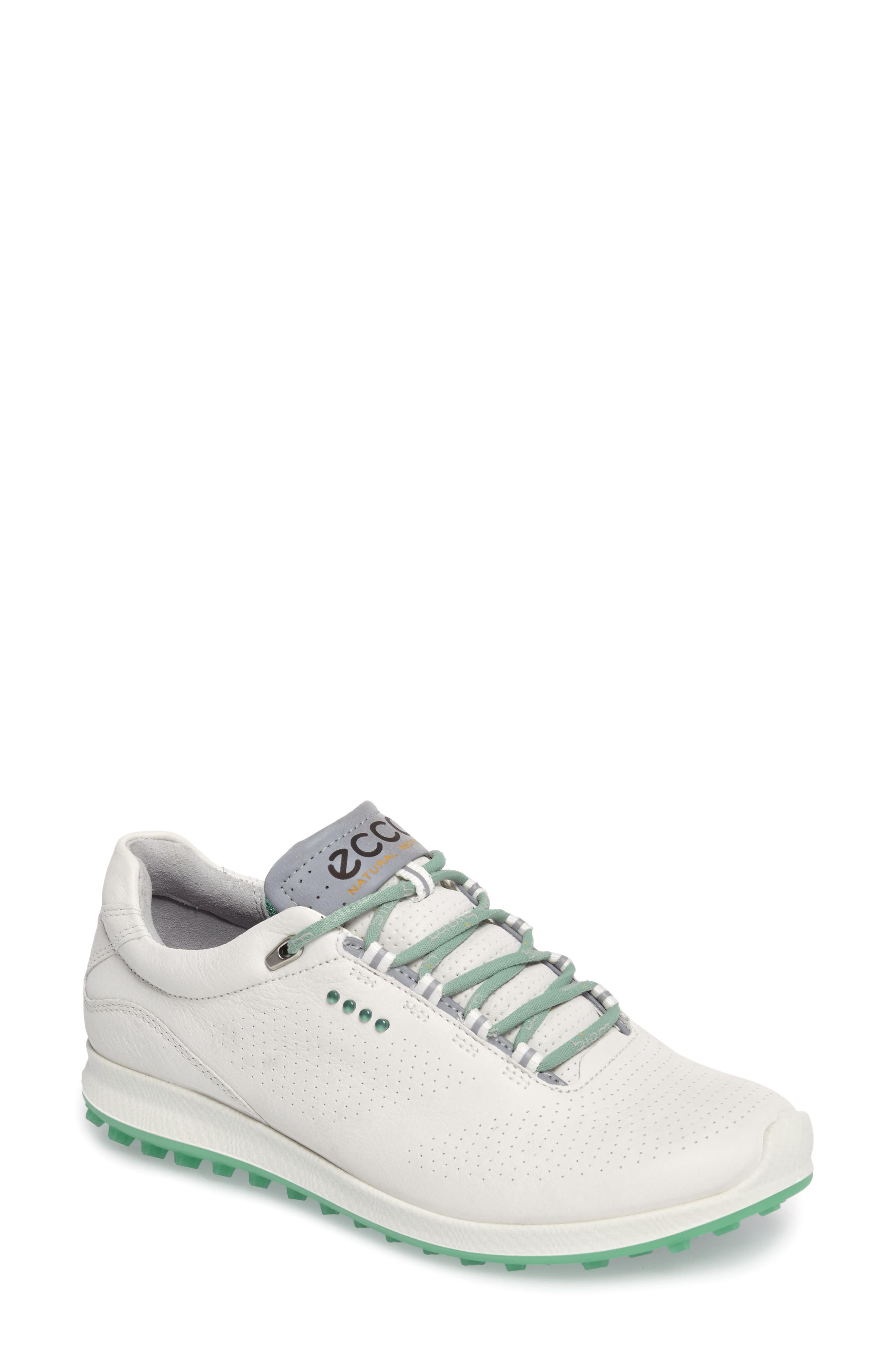 BIOM 2 Hybrid Water-Repellent Golf Shoe,                             Main thumbnail 1, color,                             White/ Granite Green Leather