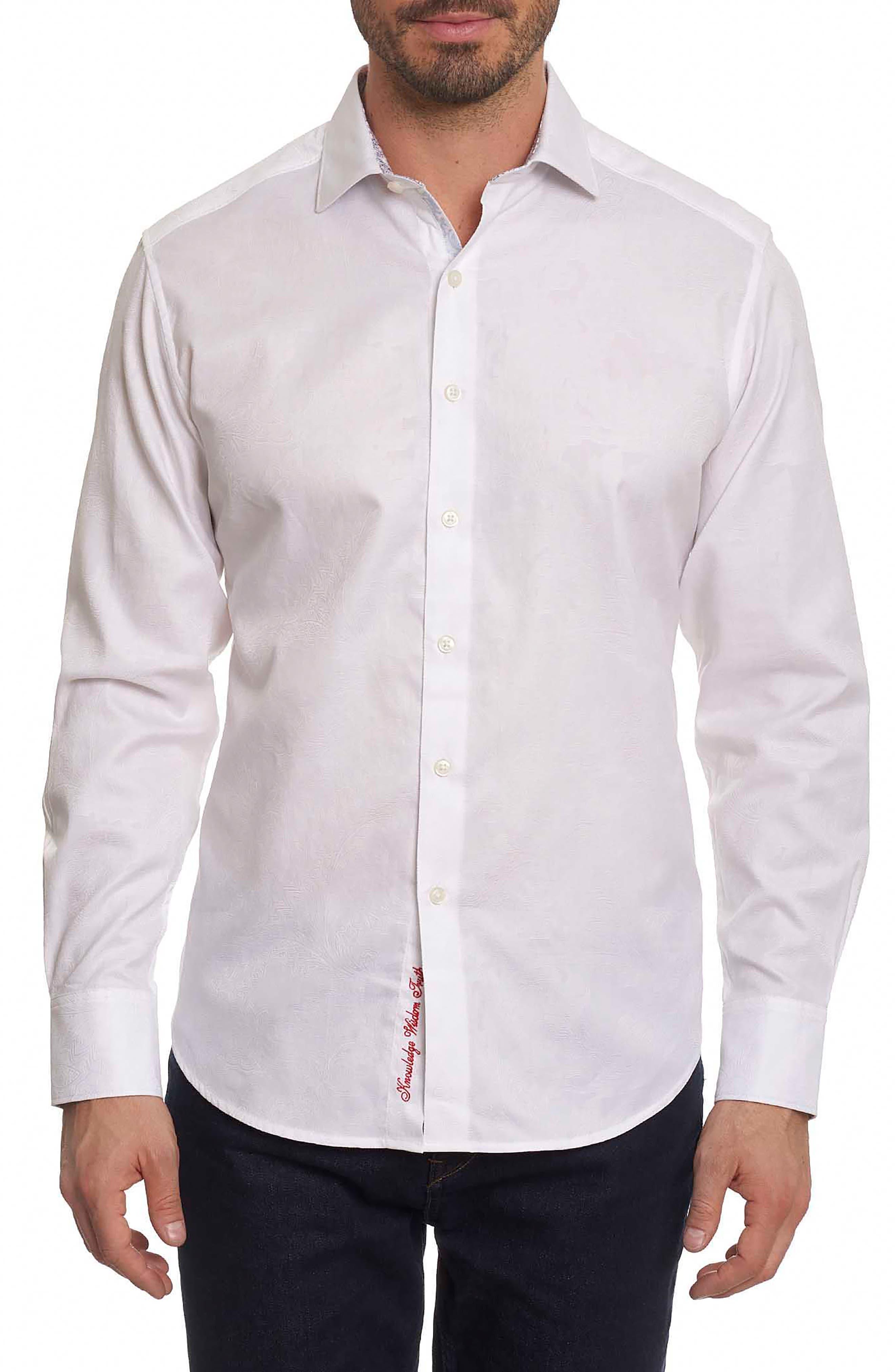 Rosendale Classic Fit Jacquard Sport Shirt,                         Main,                         color, White