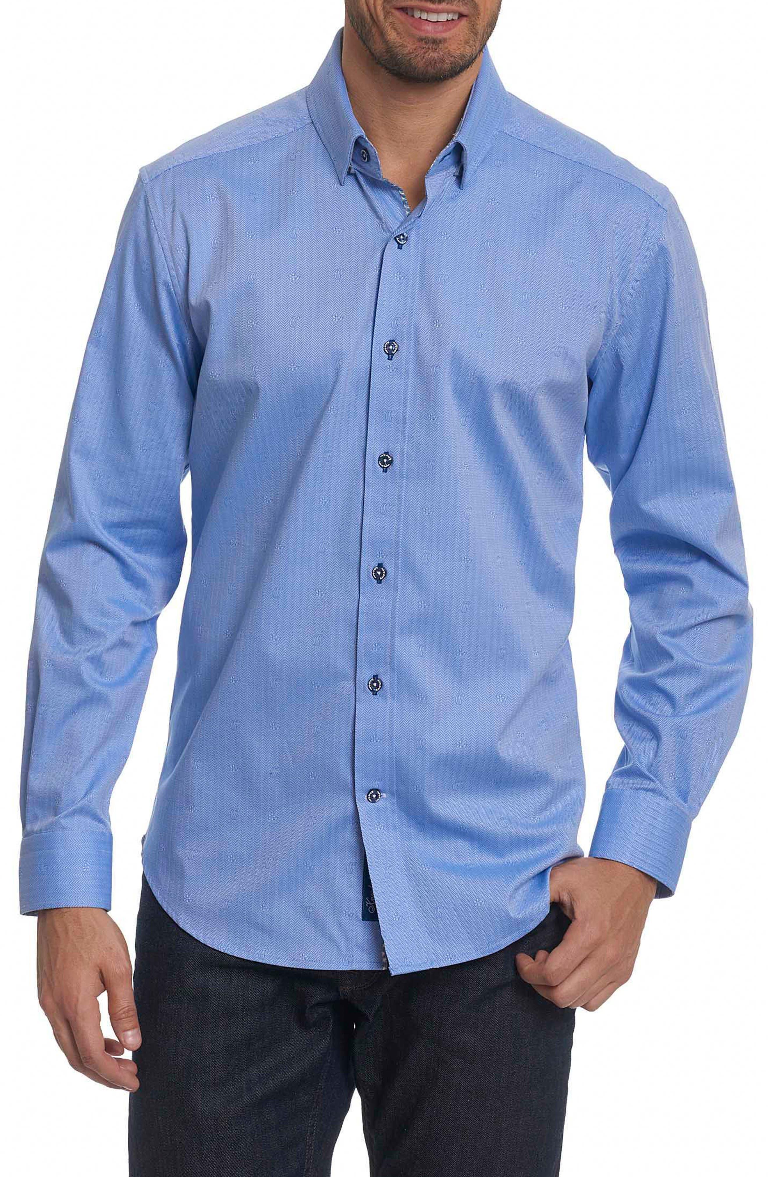 Taner Tailored Fit Dobby Herringbone Sport Shirt,                             Main thumbnail 1, color,                             Blue