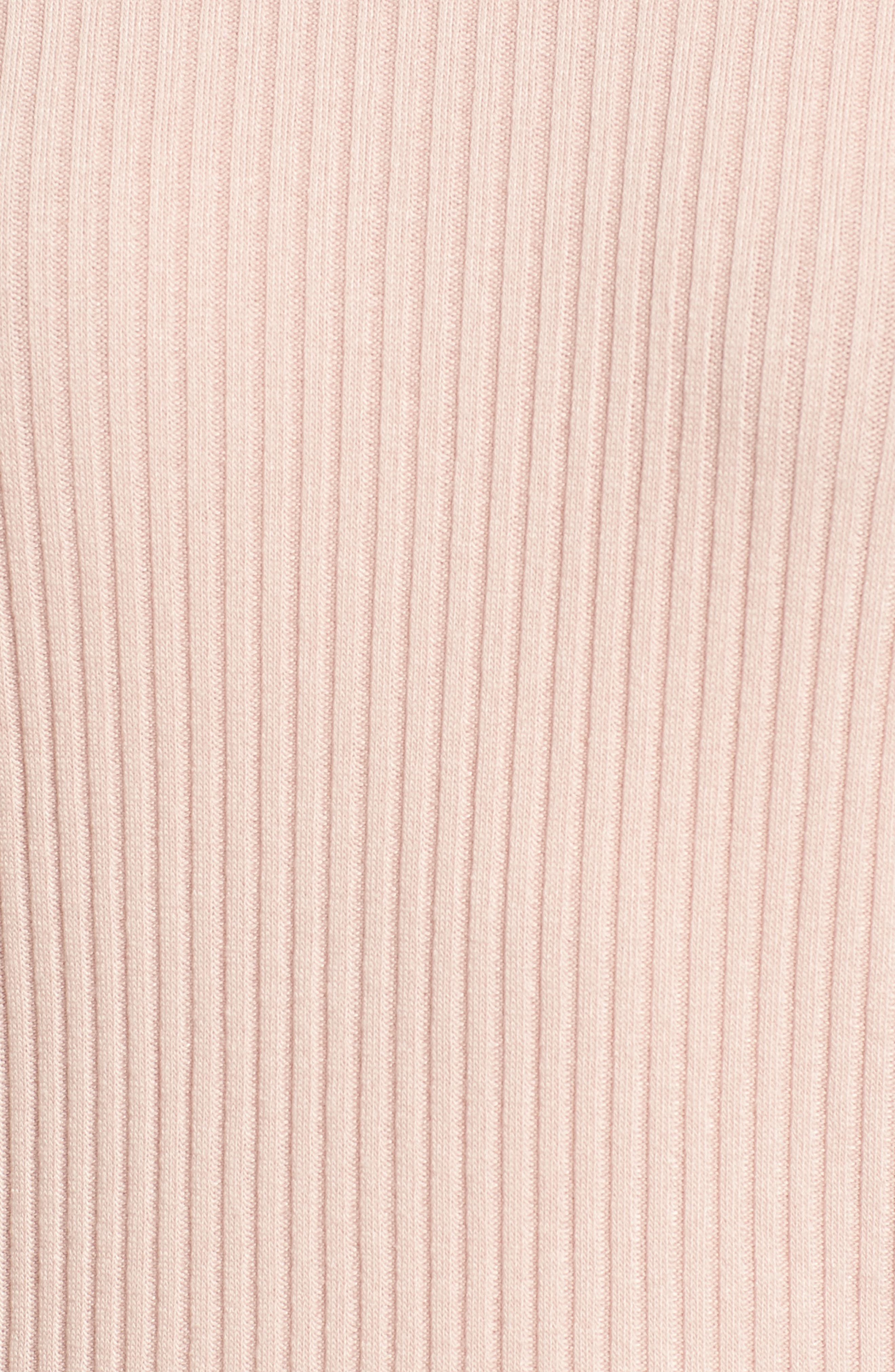 Sylvie Ribbed Mock Neck Sweater,                             Alternate thumbnail 5, color,                             Pink Beige