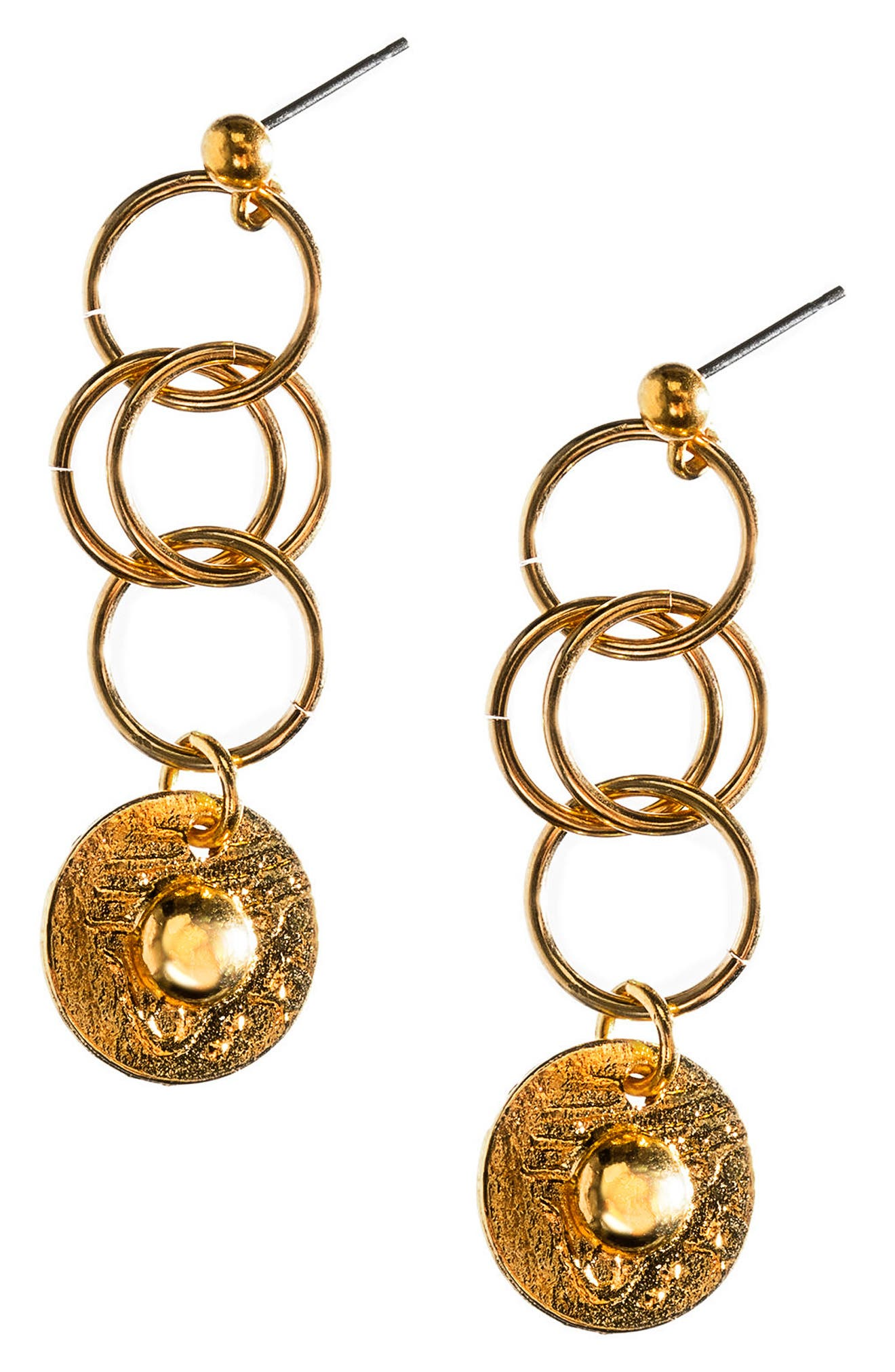 Tri Hoop Coin Earrings,                             Main thumbnail 1, color,                             Gold