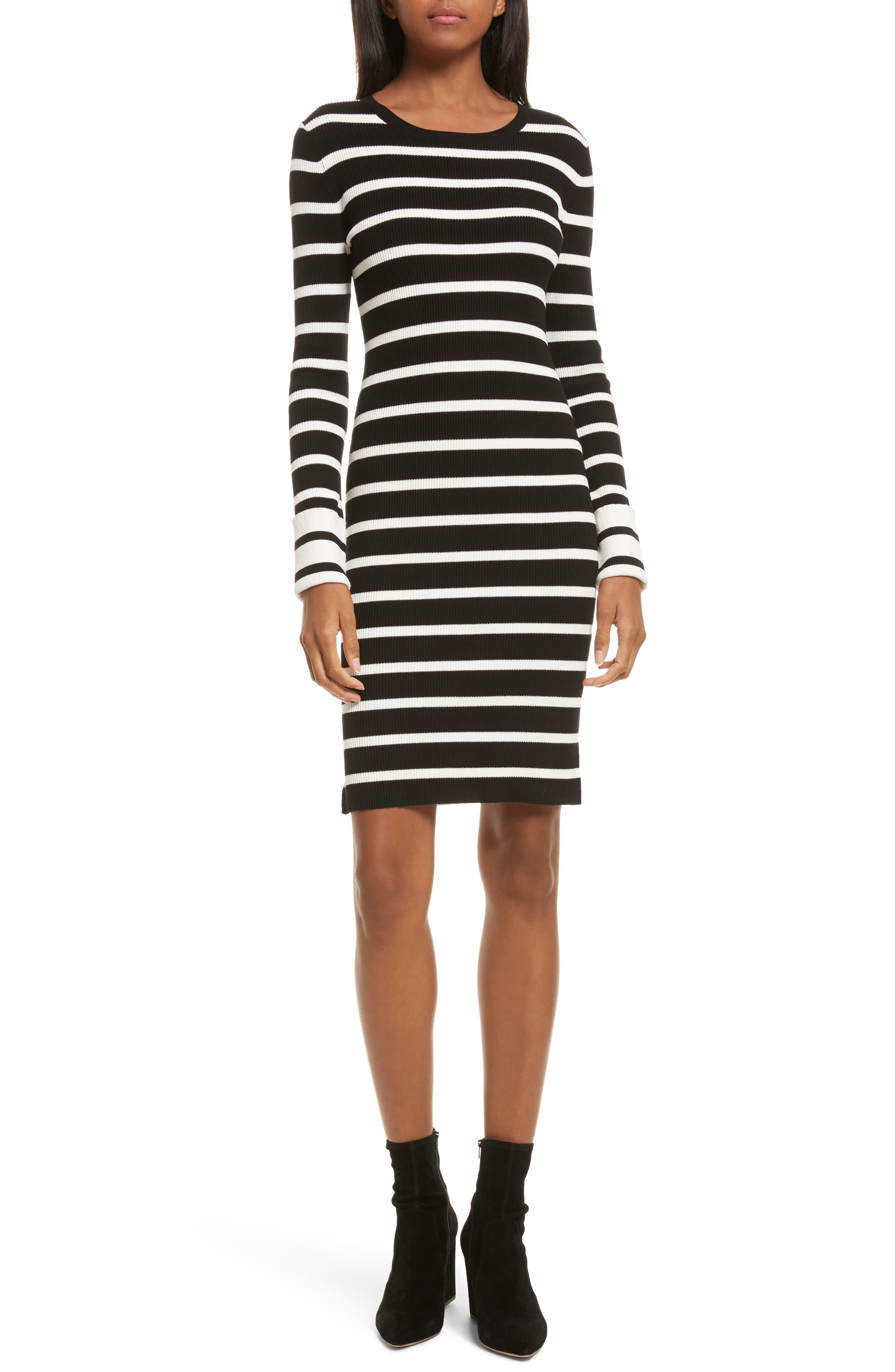 Prosecco Stripe Knit Dress,                         Main,                         color, Black/ Eggshell