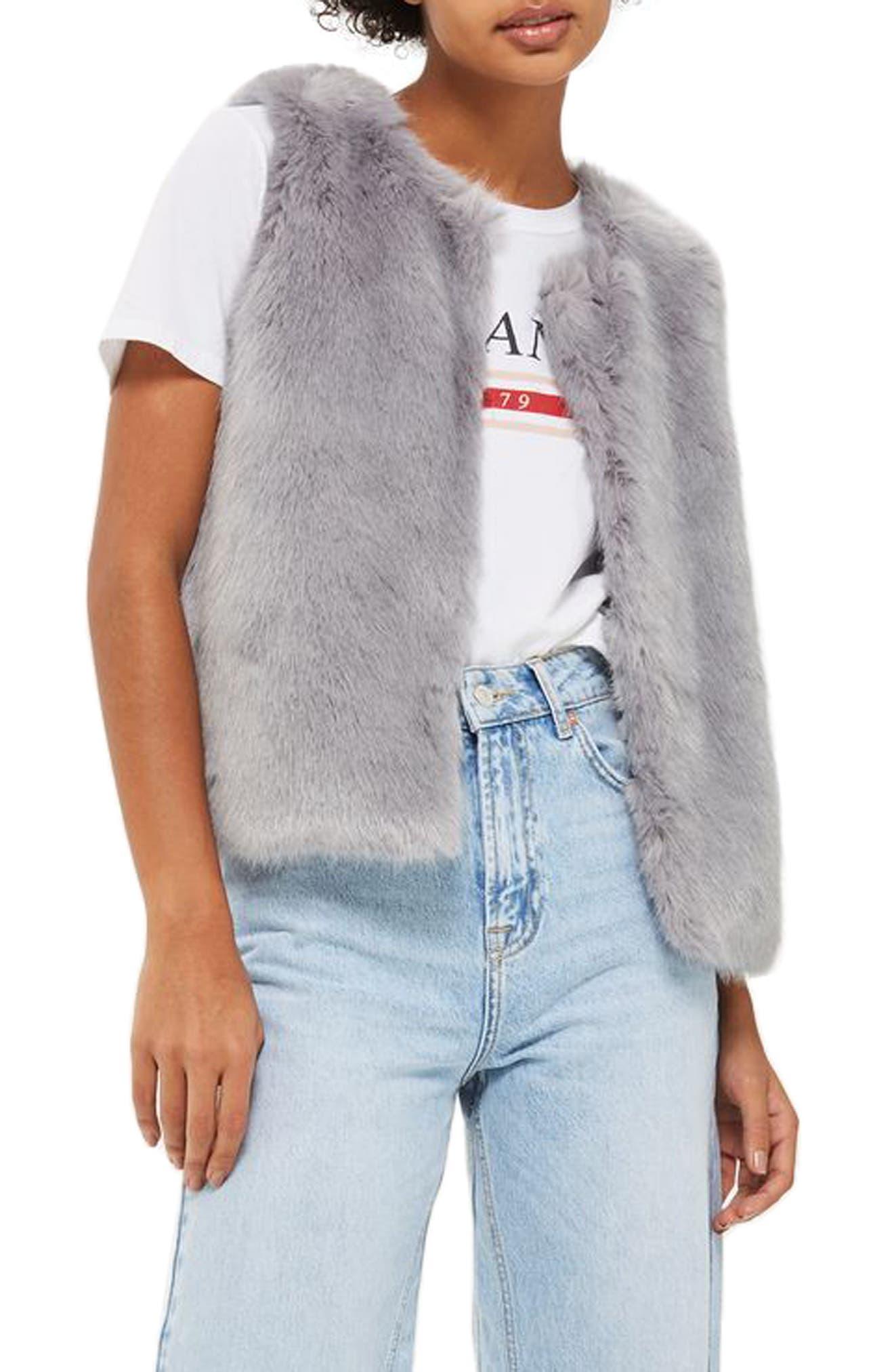 Clair Faux Fur Vest,                         Main,                         color, Grey