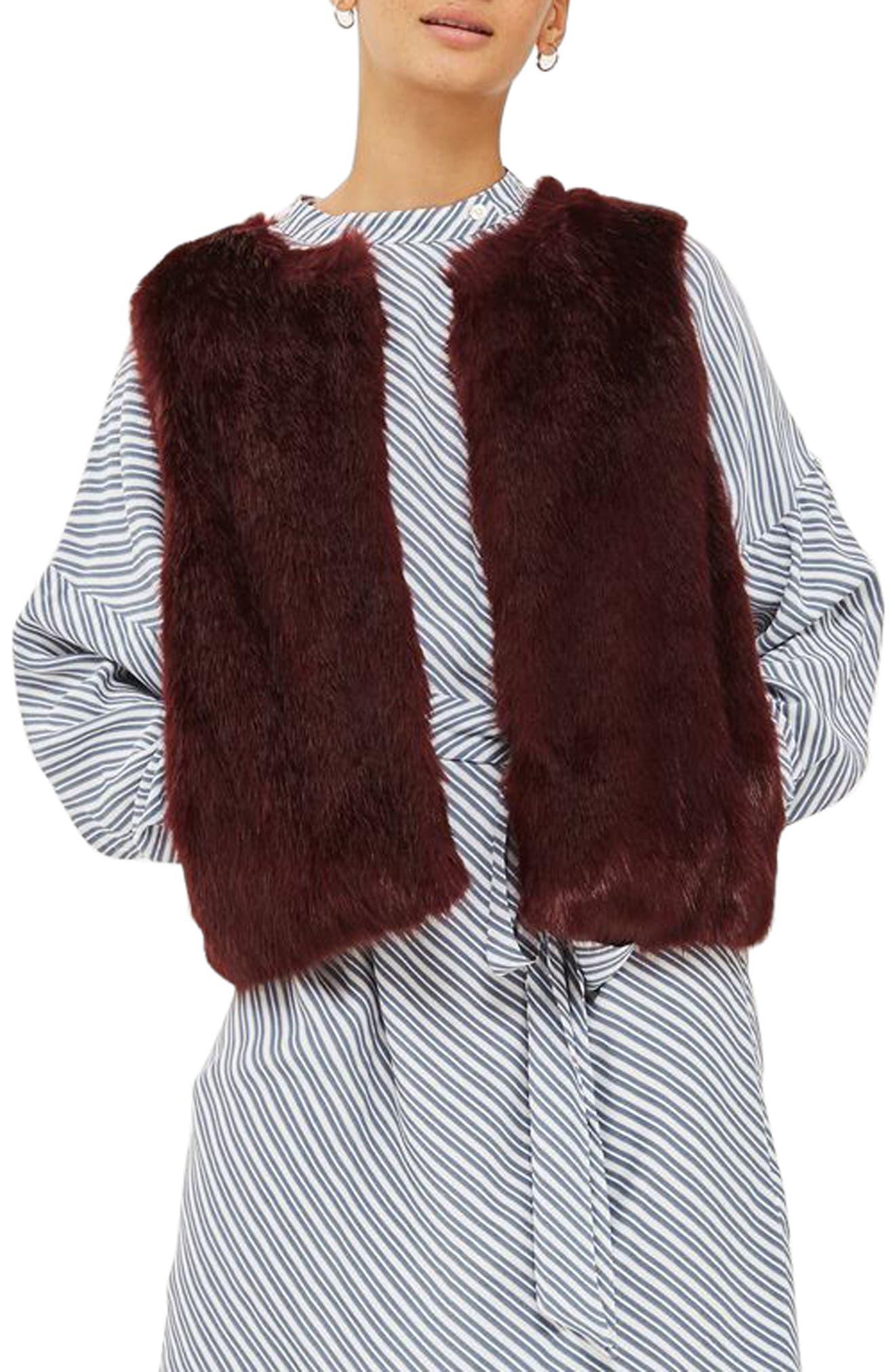 Clair Faux Fur Vest,                         Main,                         color, Burgundy