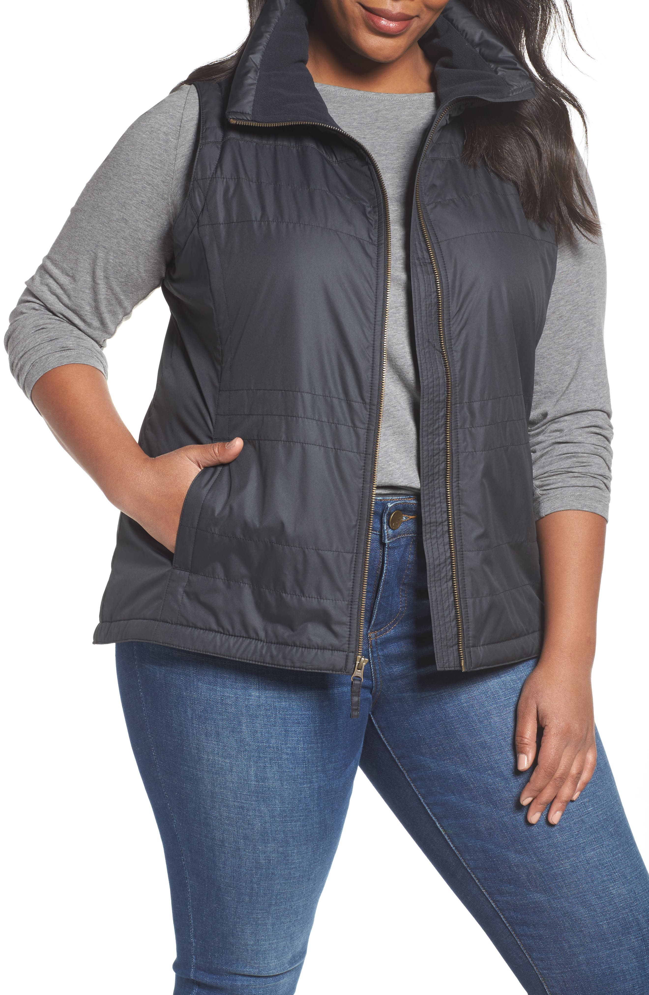 Shining Light II Quilted Vest,                             Main thumbnail 1, color,                             Black