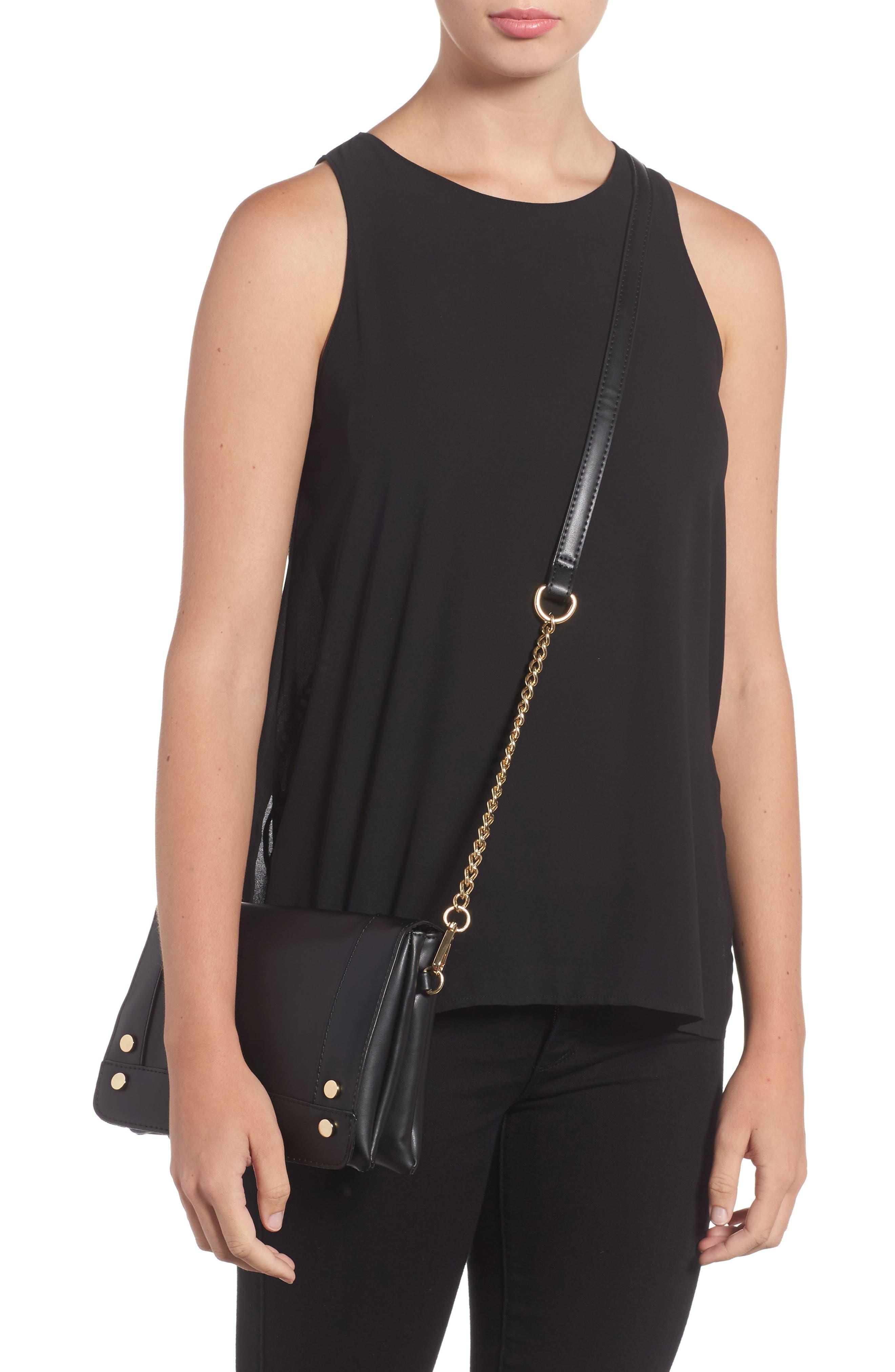 Studded Faux Leather Crossbody Bag,                             Alternate thumbnail 2, color,                             Black