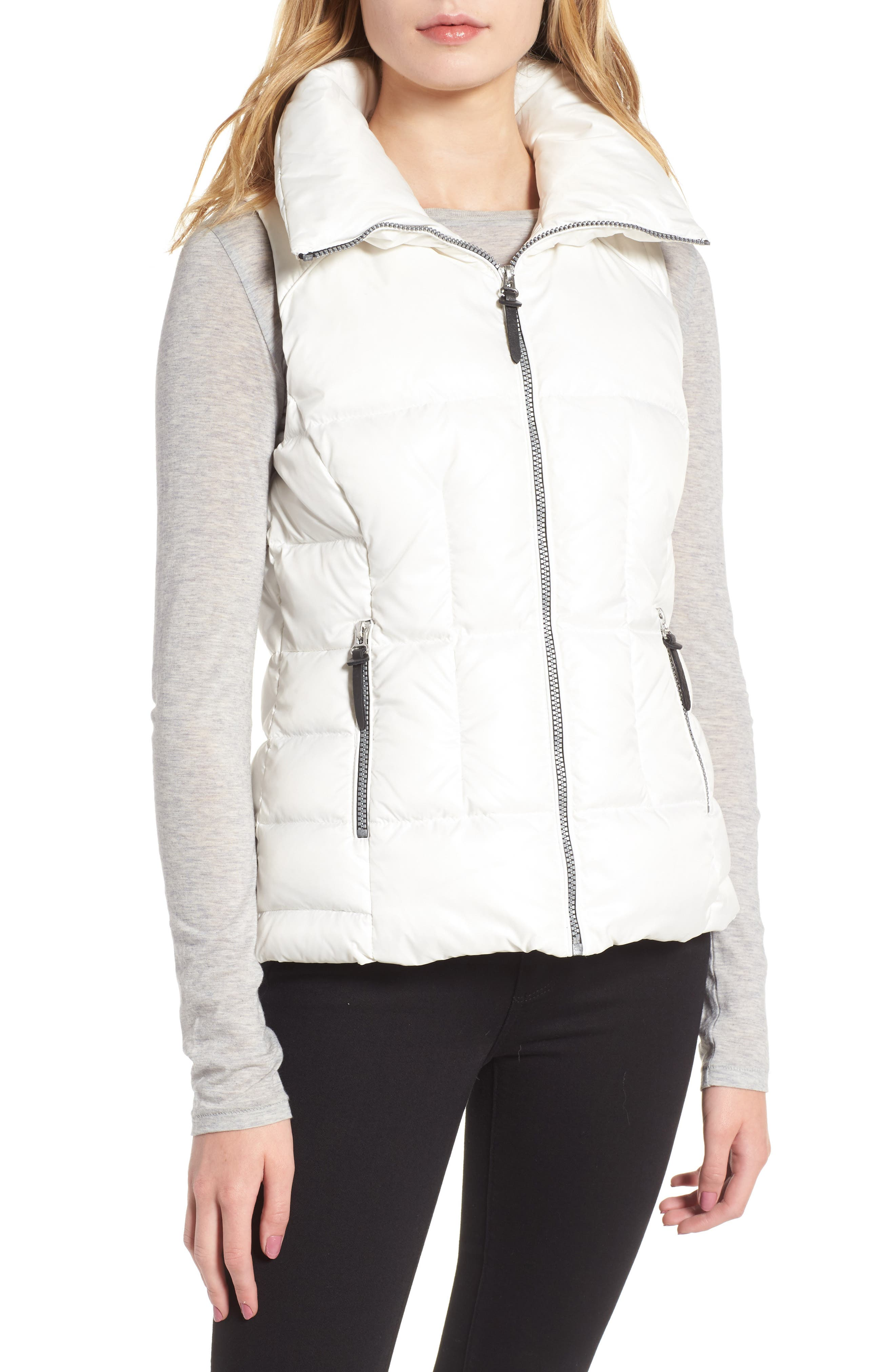 Lanie Puffer Vest with Faux Fur,                             Alternate thumbnail 4, color,                             White