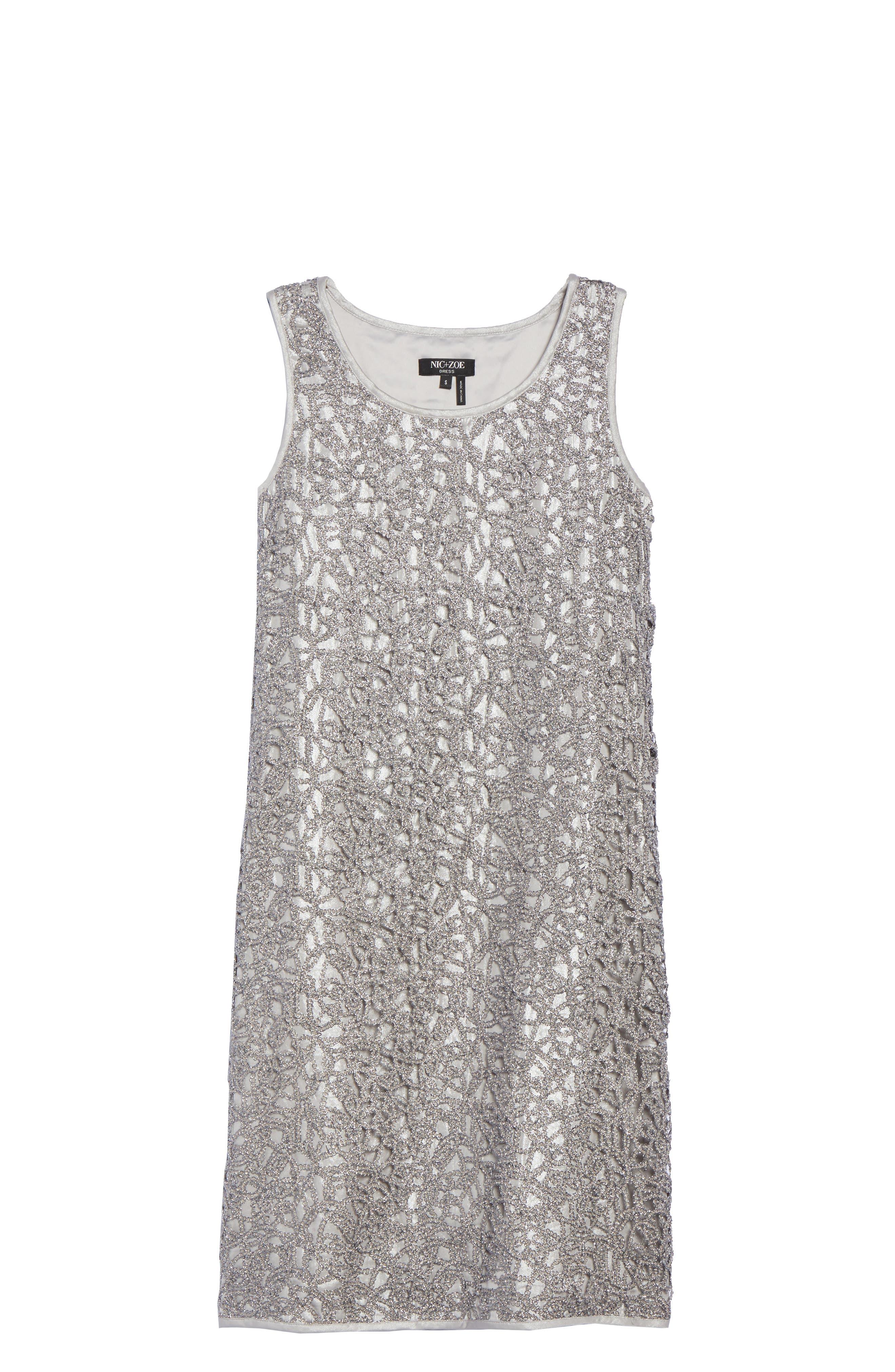 Metallic Lace Shift Dress,                             Alternate thumbnail 6, color,                             Silver