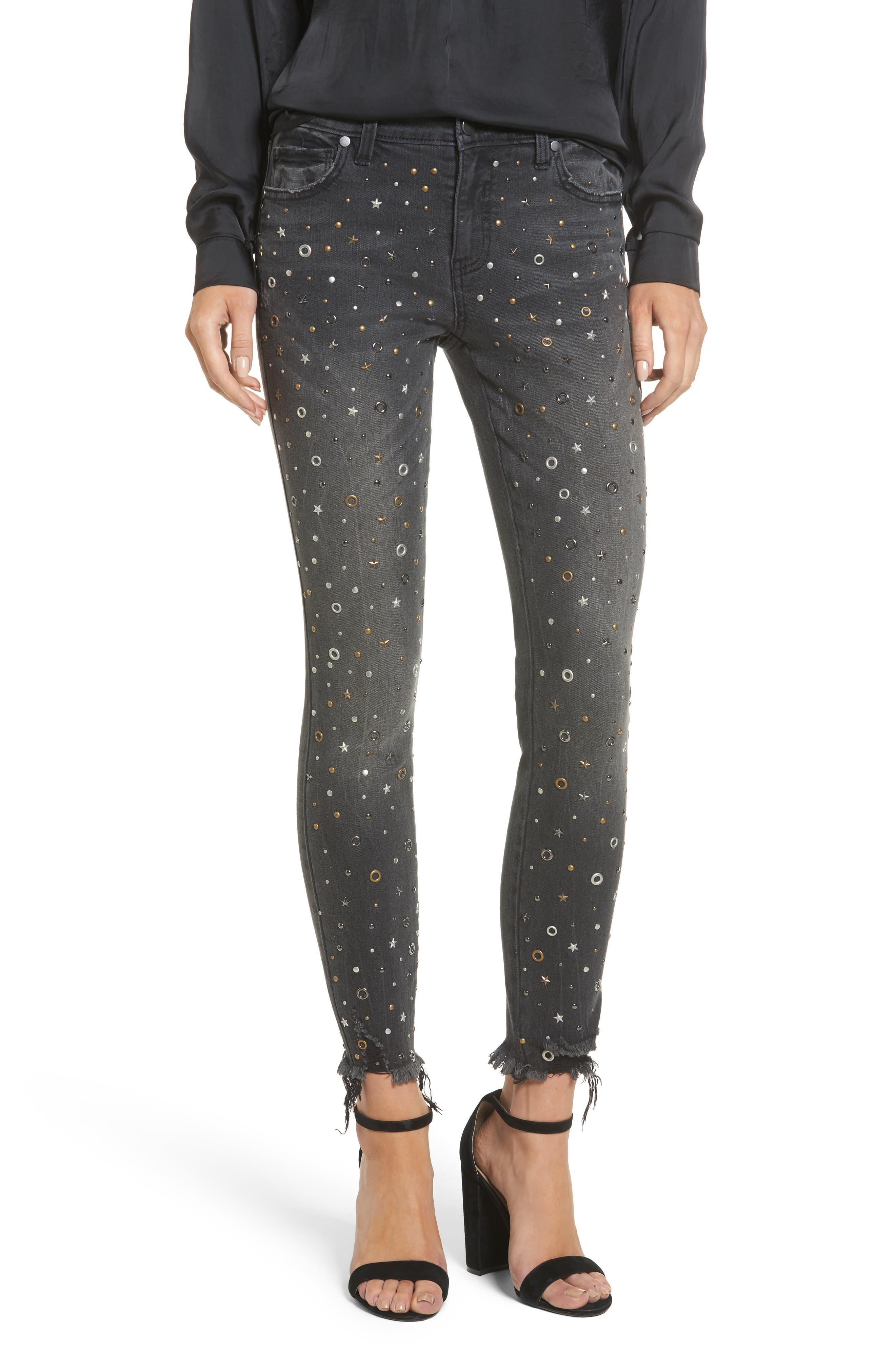 Rock Star Studded Skinny Jeans,                             Main thumbnail 1, color,                             Charcoal