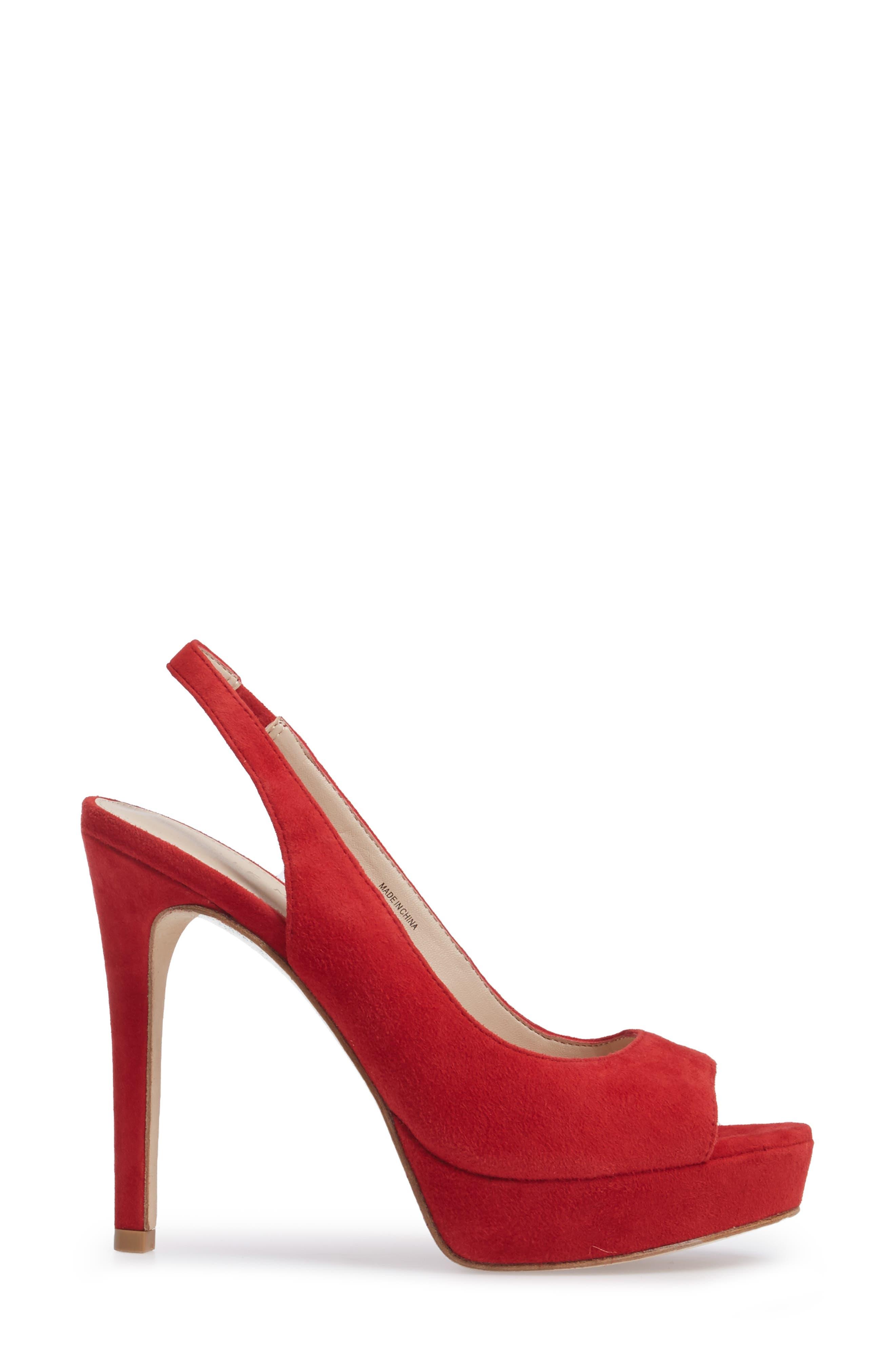Oana Slingback Platform Sandal,                             Alternate thumbnail 3, color,                             Lipstick Suede