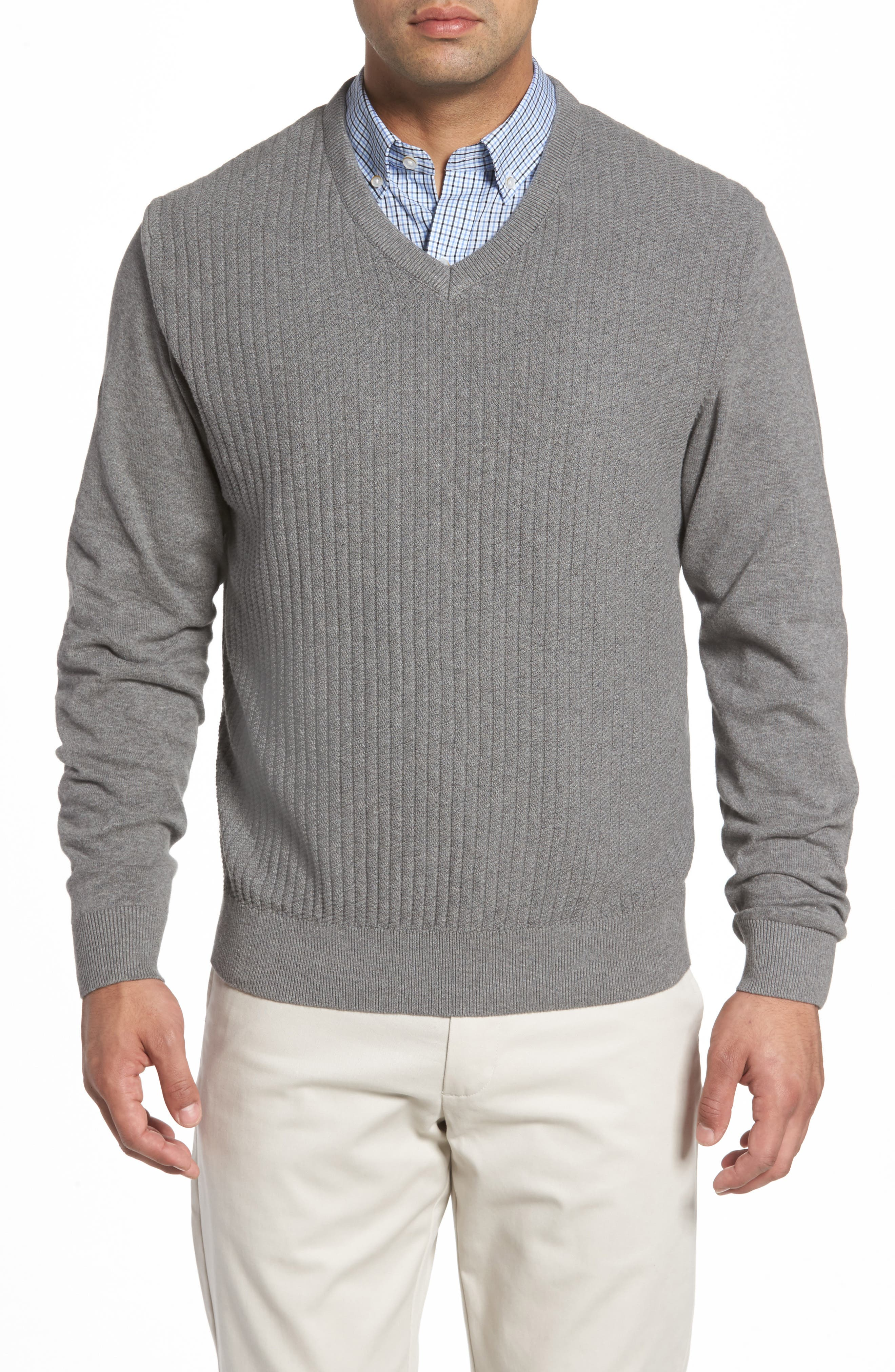 Alternate Image 1 Selected - Cutter & Buck Bryant Rib-Knit V-Neck Sweater