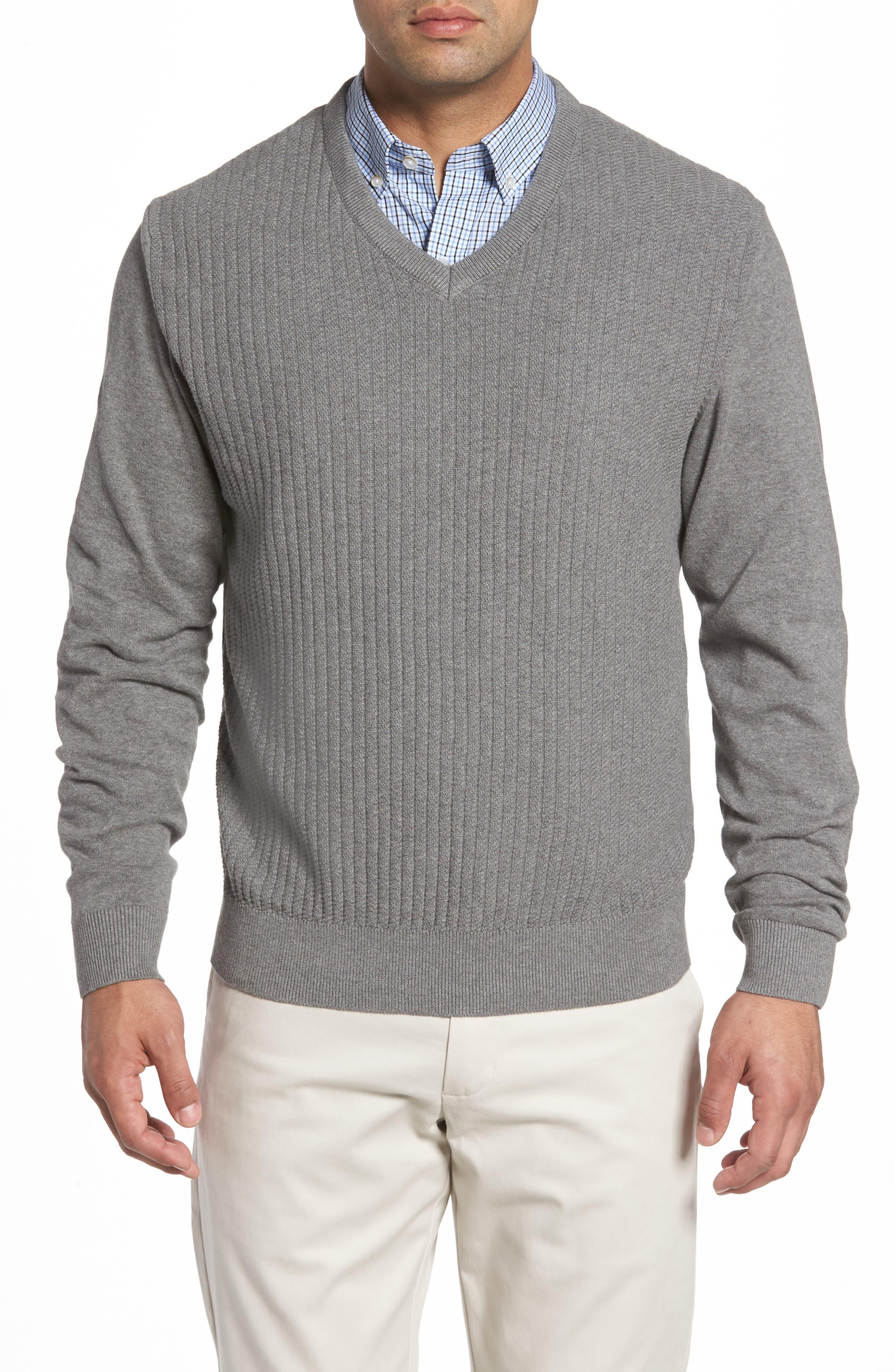 Bryant Rib-Knit V-Neck Sweater,                         Main,                         color, Mid Grey Heather