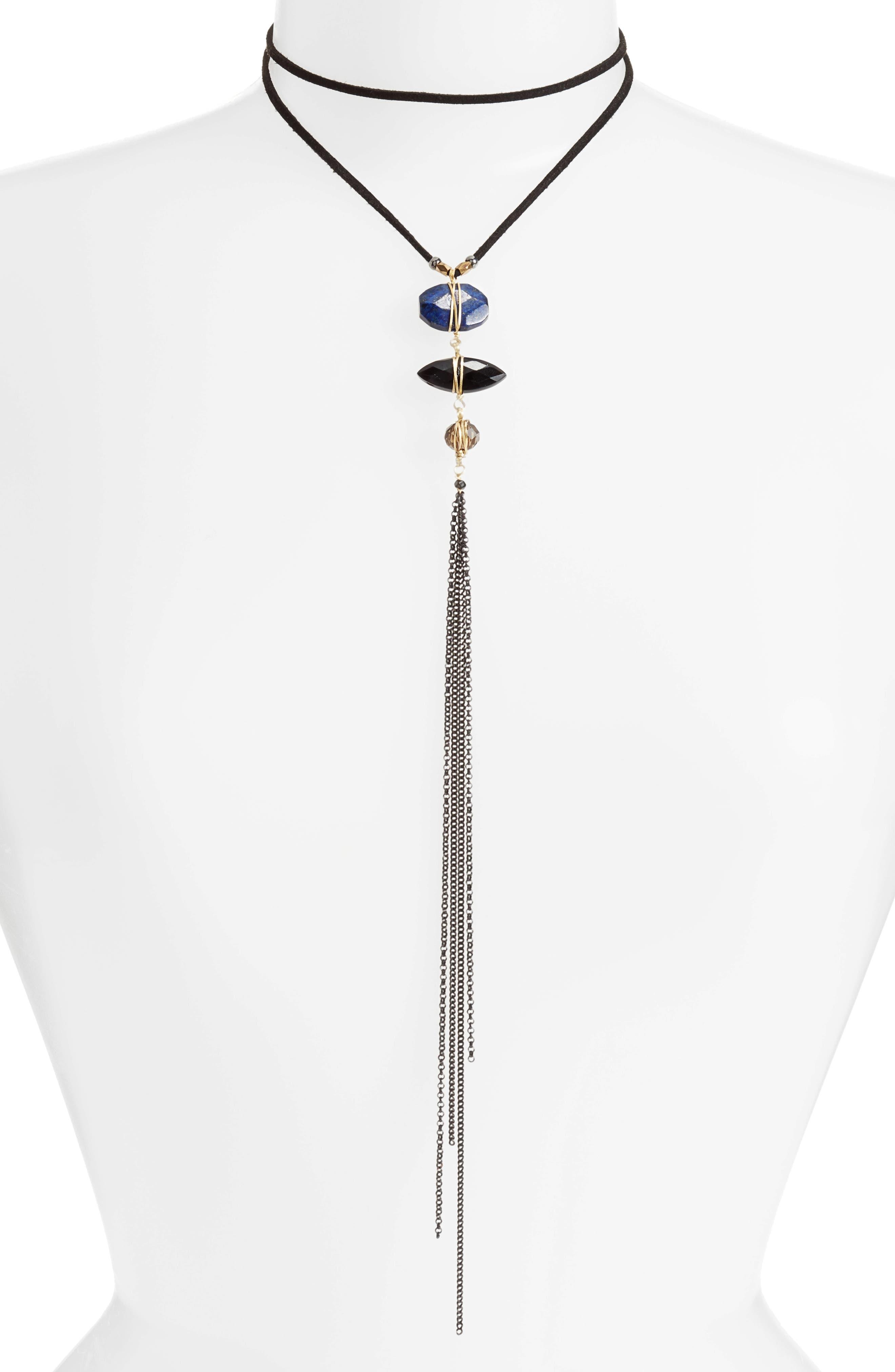 Lapis, Agate, Quartz & Crystal Y Necklace,                         Main,                         color, Blue
