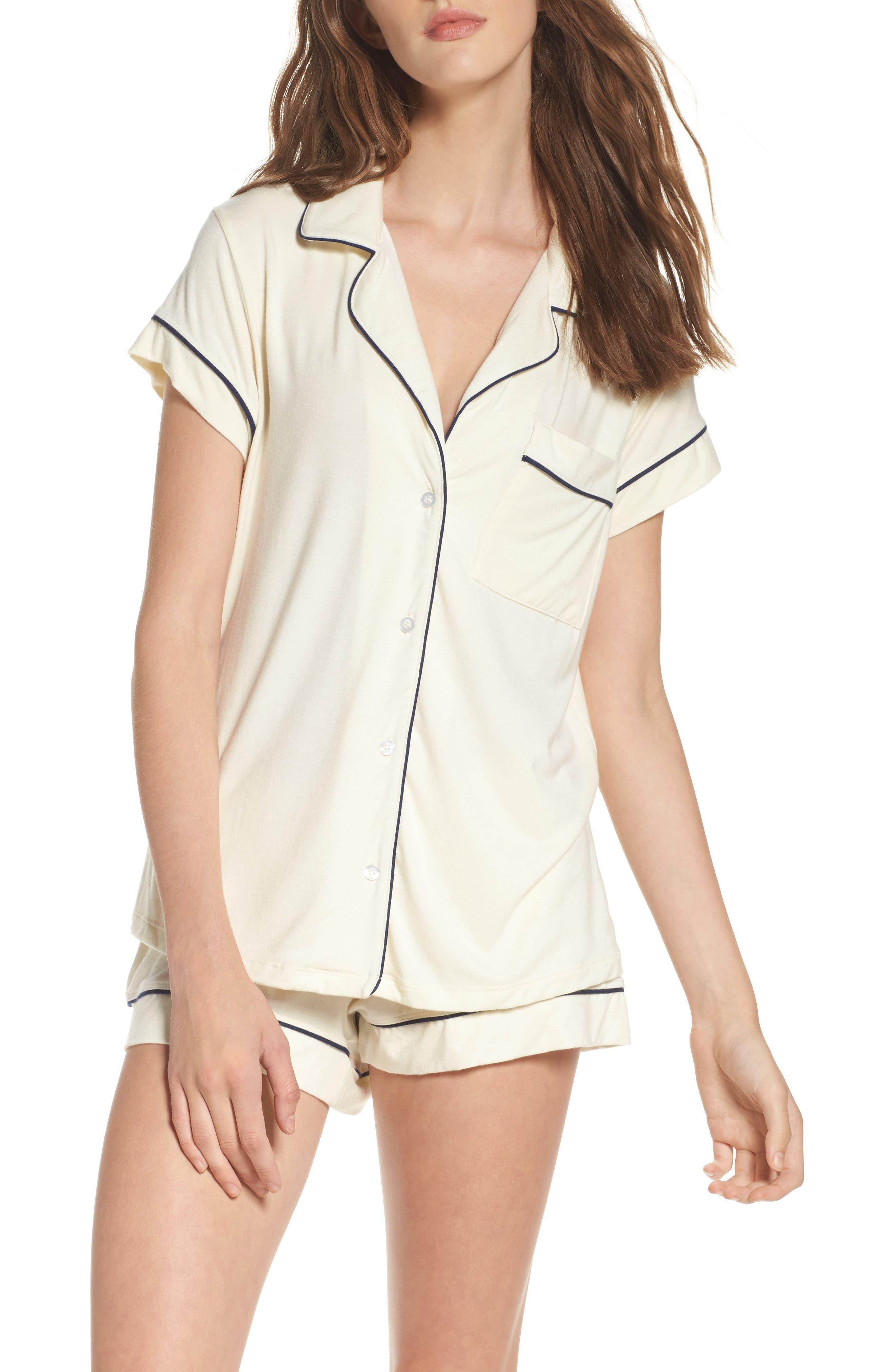 'Gisele' Shorty Pajamas,                         Main,                         color, Ivory/ Navy