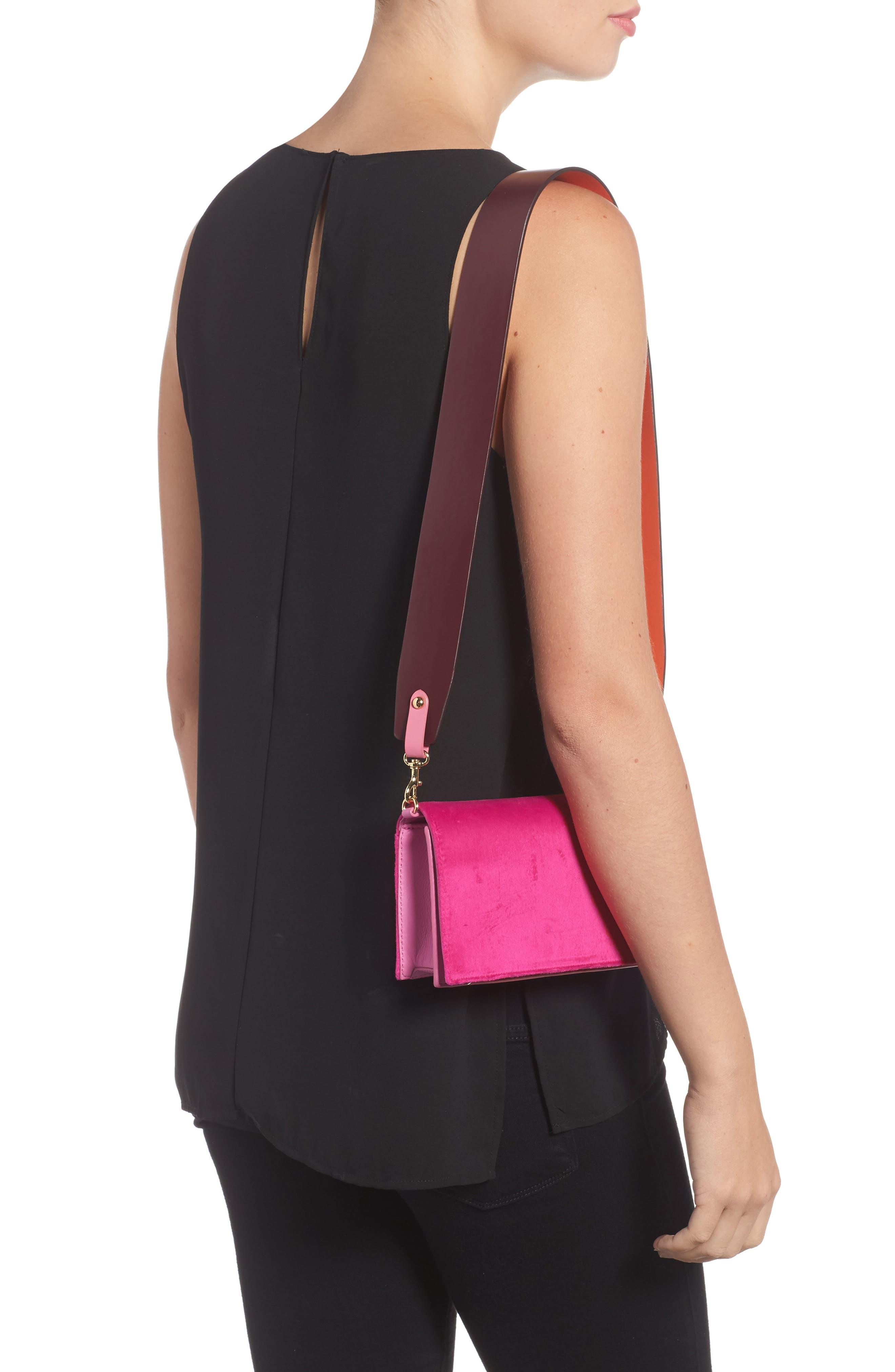 Soirée Velvet Convertible Crossbody Bag,                             Alternate thumbnail 2, color,                             Pink Azalea