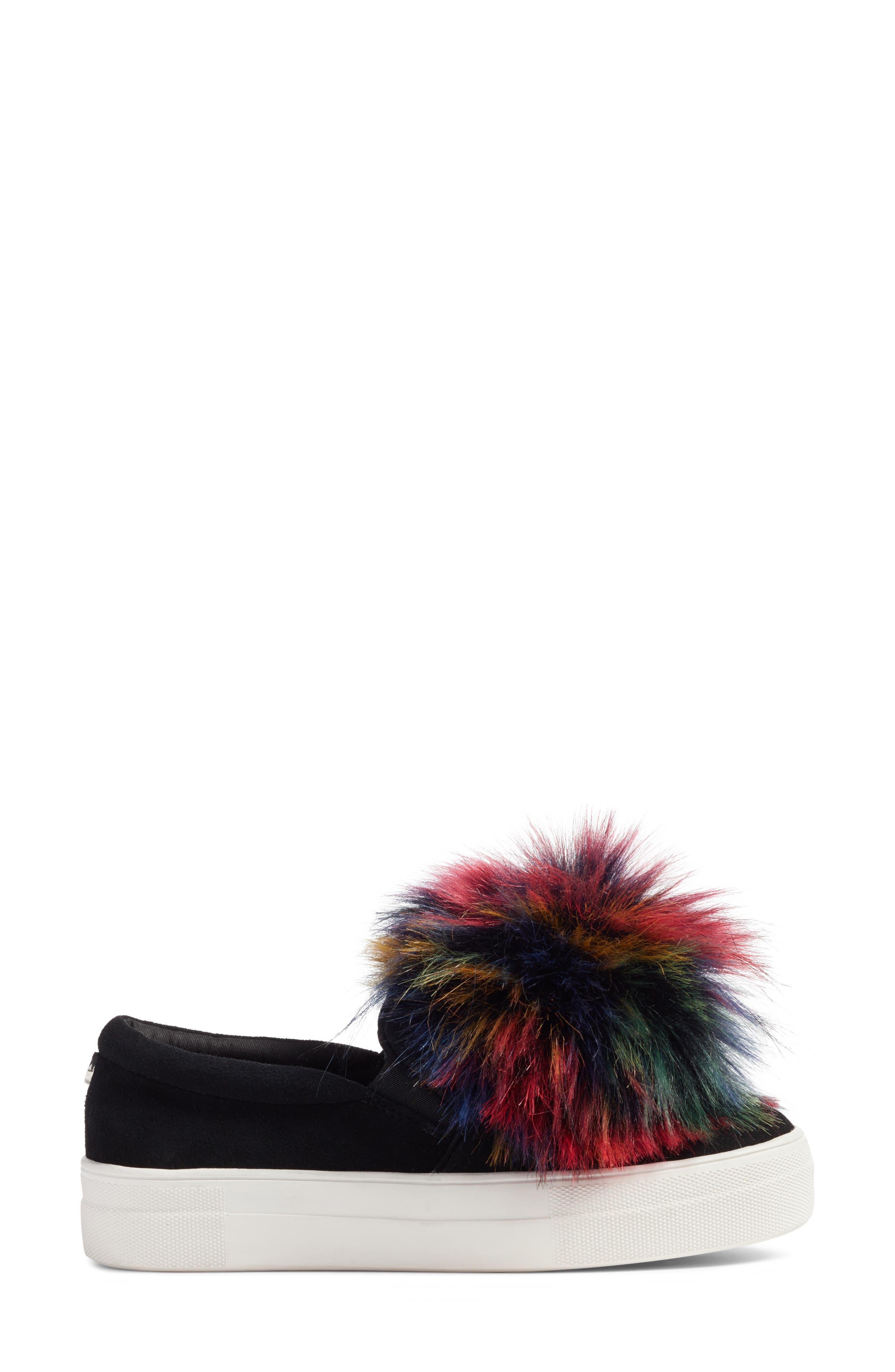 Great Faux Fur Pom Platform Sneaker,                             Alternate thumbnail 3, color,                             Black Multi
