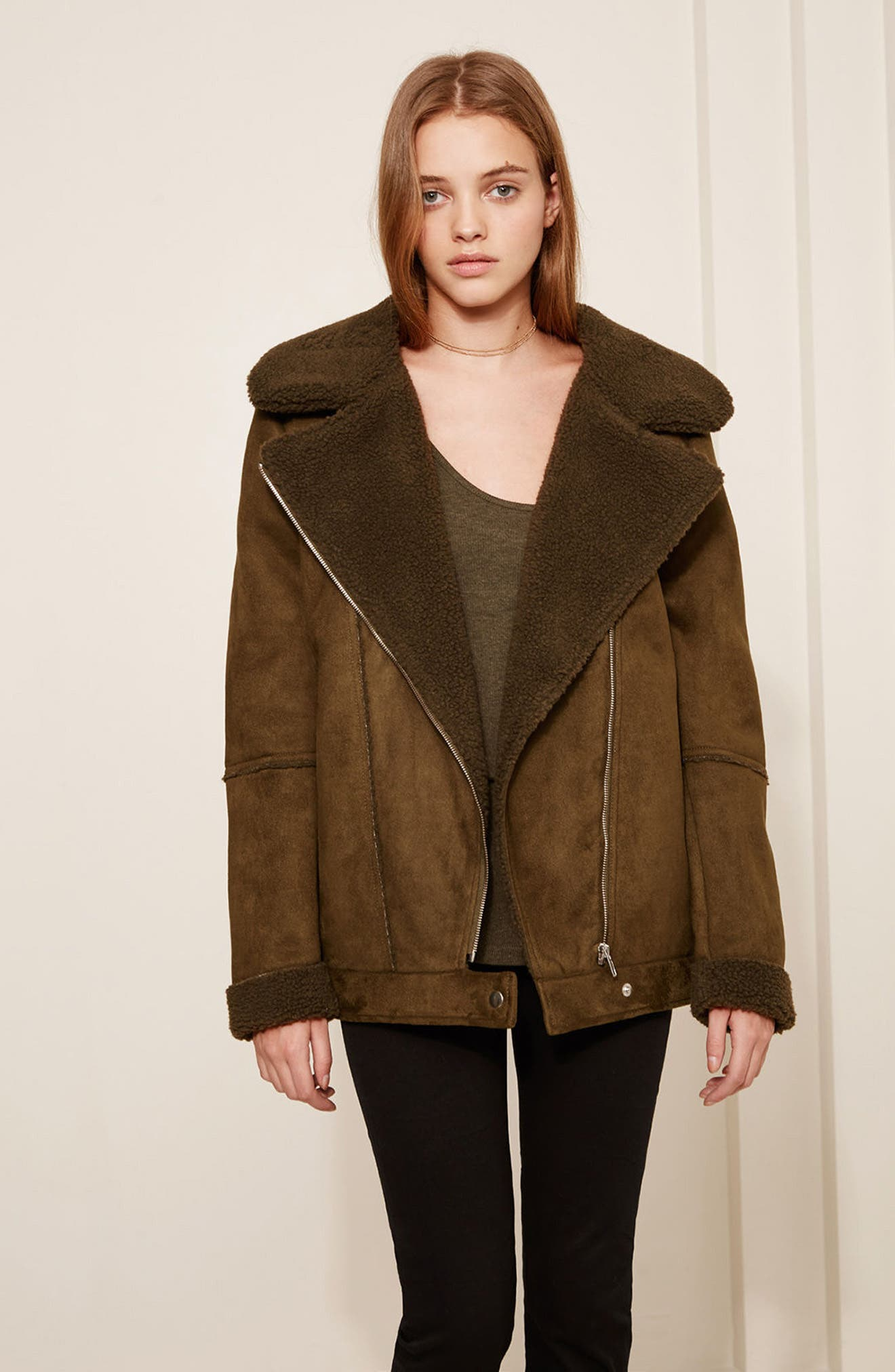 Dallas Faux Shearling Jacket,                             Alternate thumbnail 2, color,                             Olive