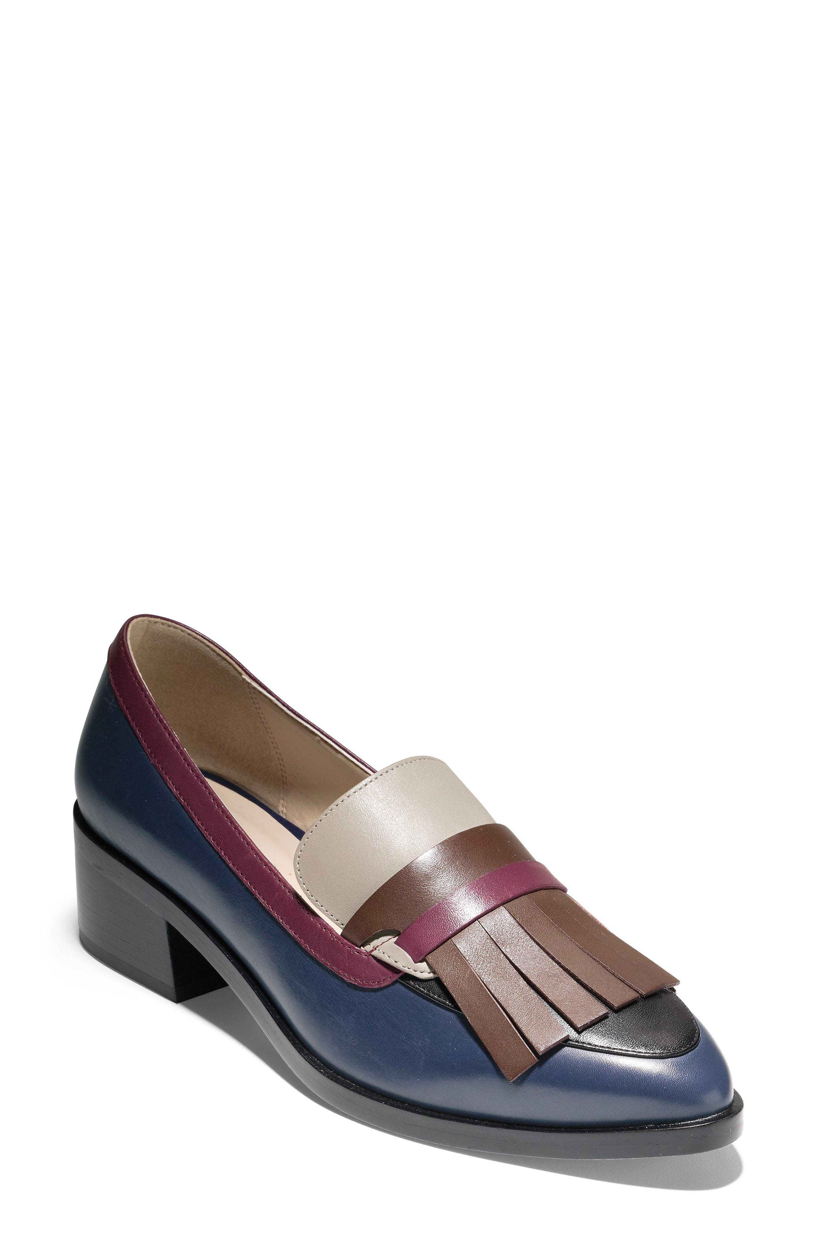 Margarite Loafer Pump,                             Main thumbnail 1, color,                             Marine Blue Leather