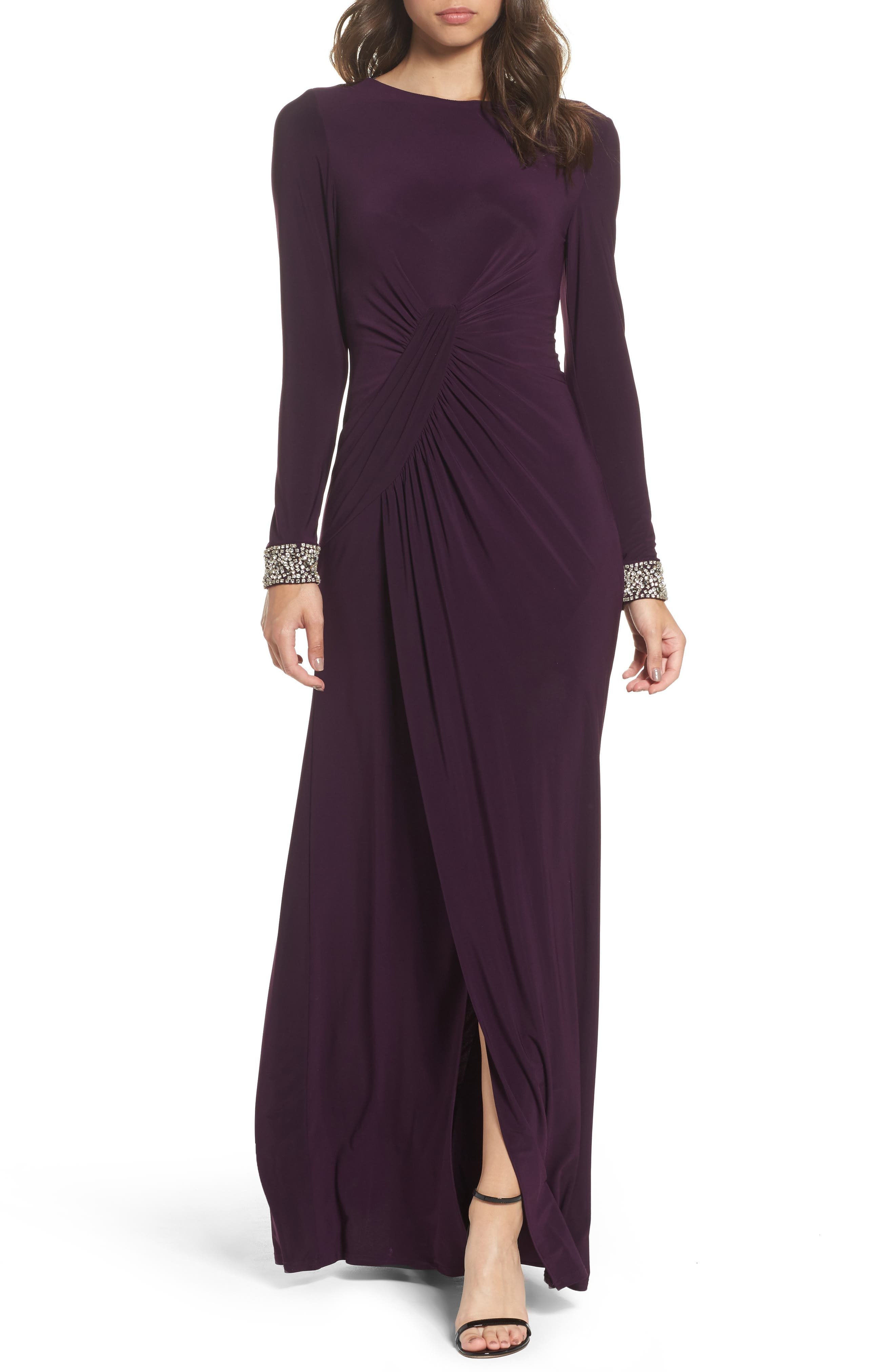 Beaded Cuff Ruched Jersey Gown,                         Main,                         color, Plum