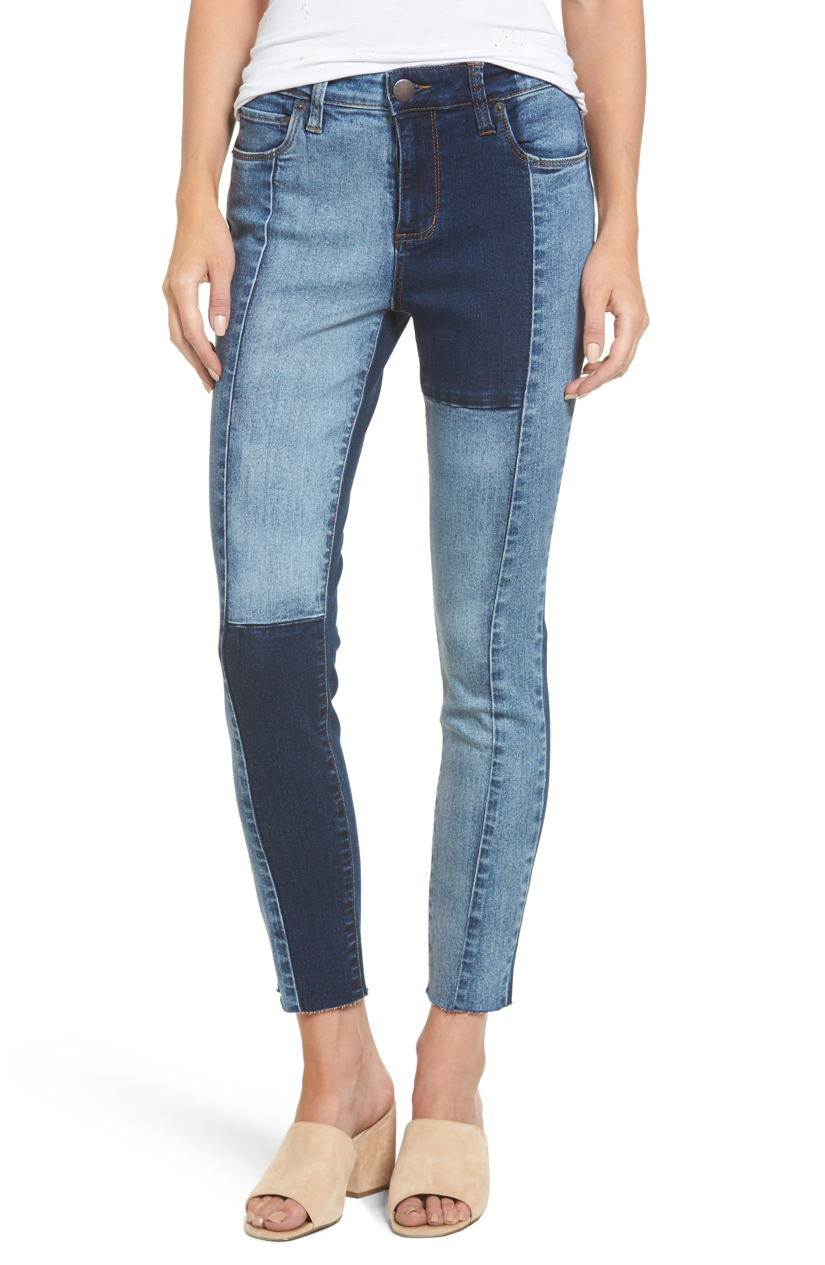 Piper Colorblock Ankle Skinny Jeans,                         Main,                         color, Pacific Coast