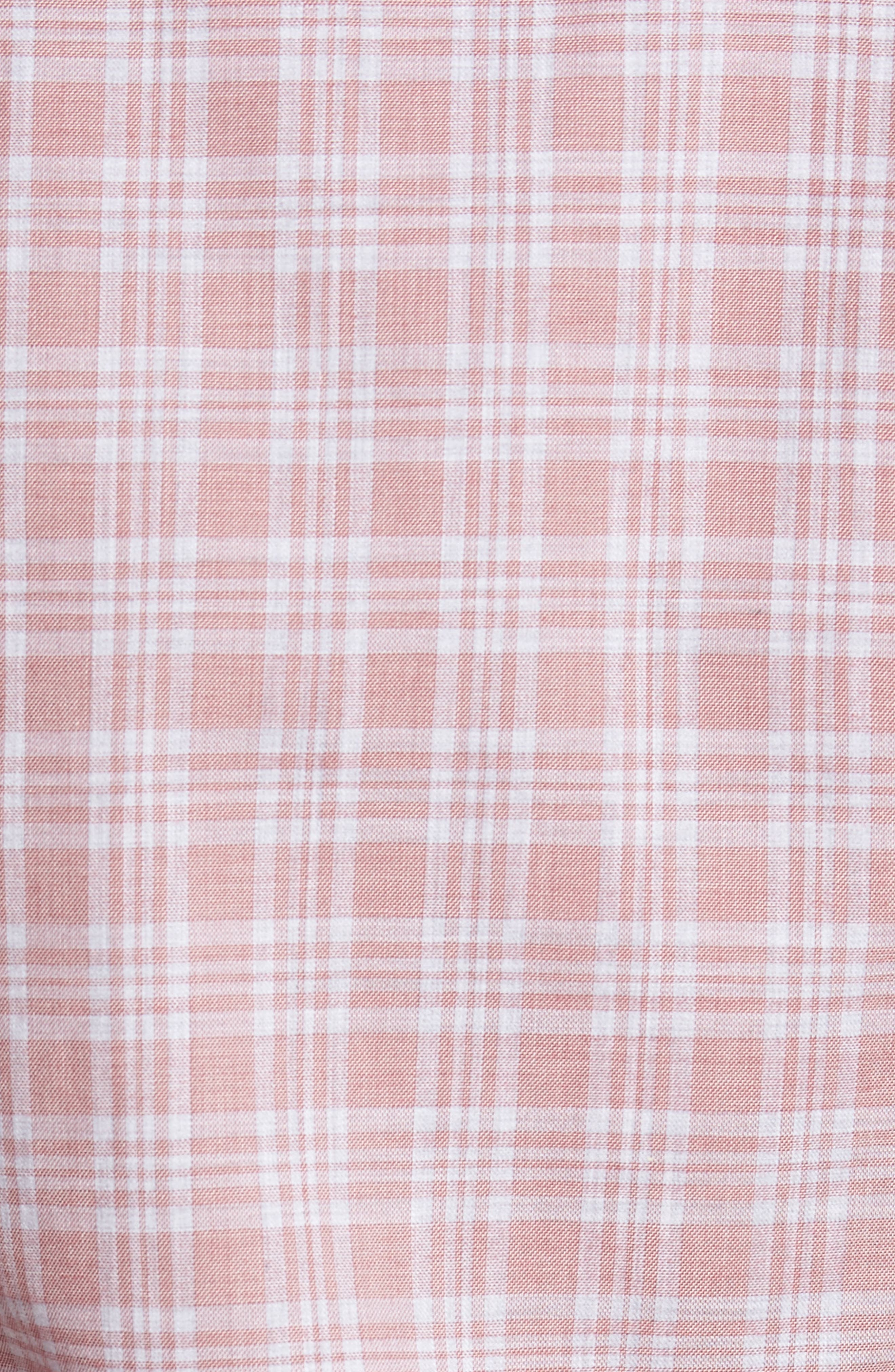 Slim Fit Plaid Sport Shirt,                             Alternate thumbnail 5, color,                             Pink