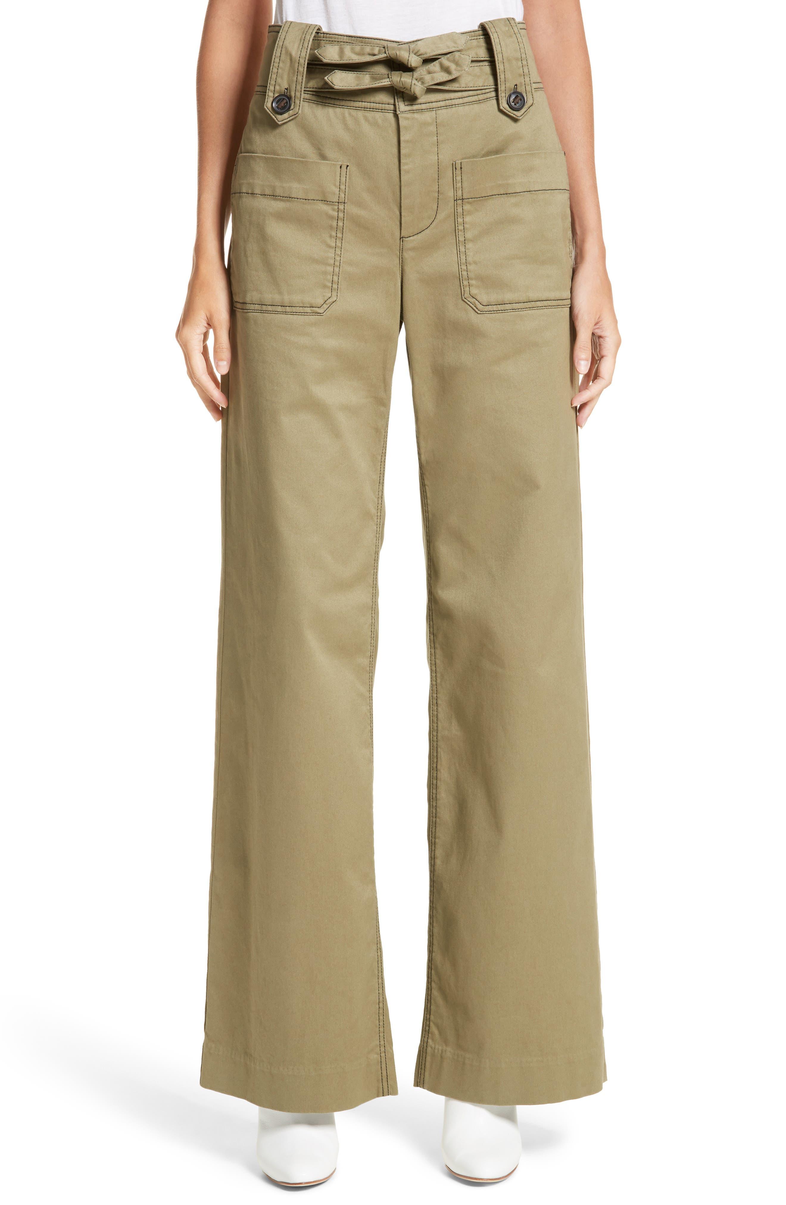 High Waist Twill Pants,                         Main,                         color, Moss