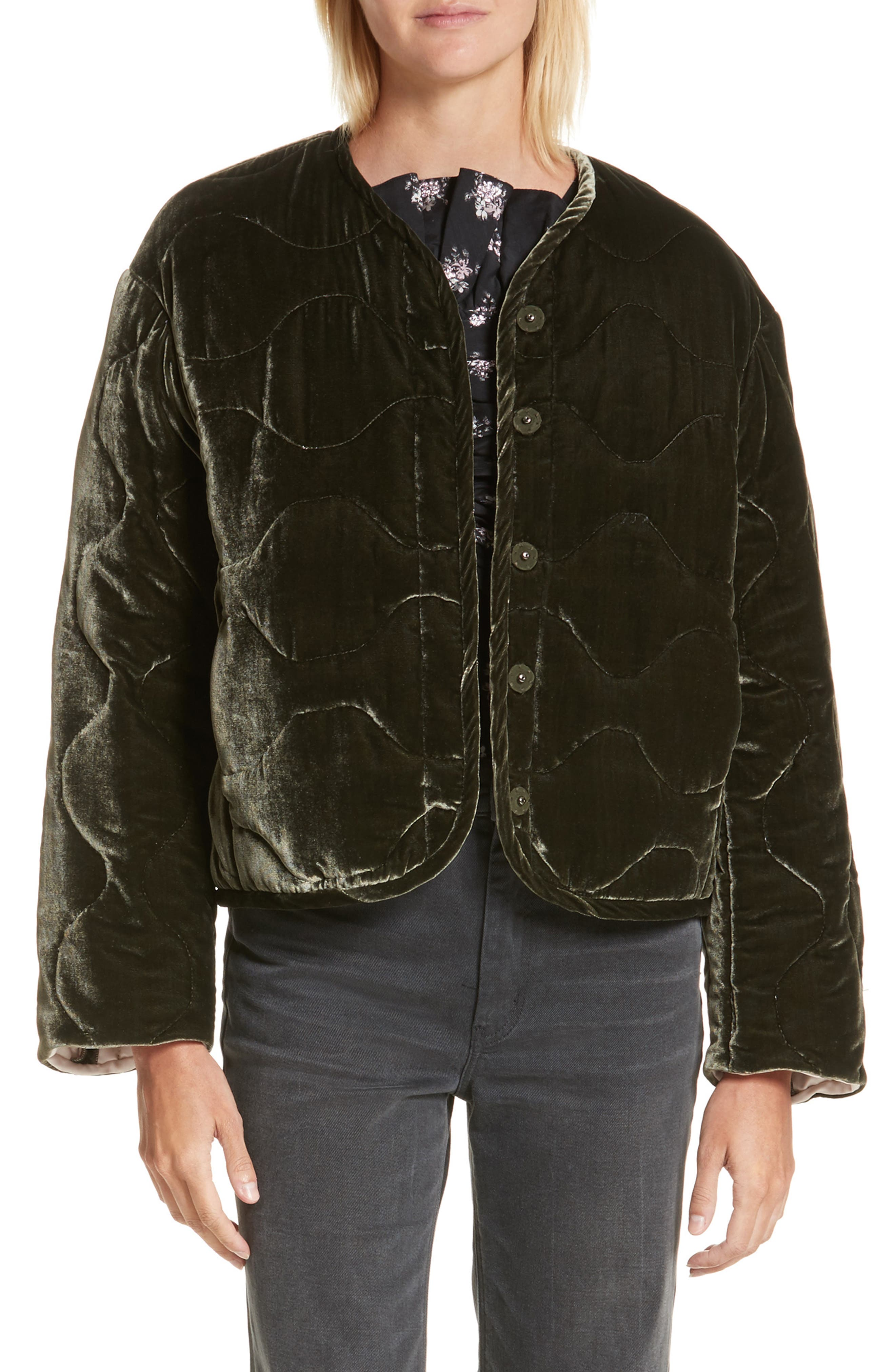 Quilted Velvet Jacket,                         Main,                         color, Army
