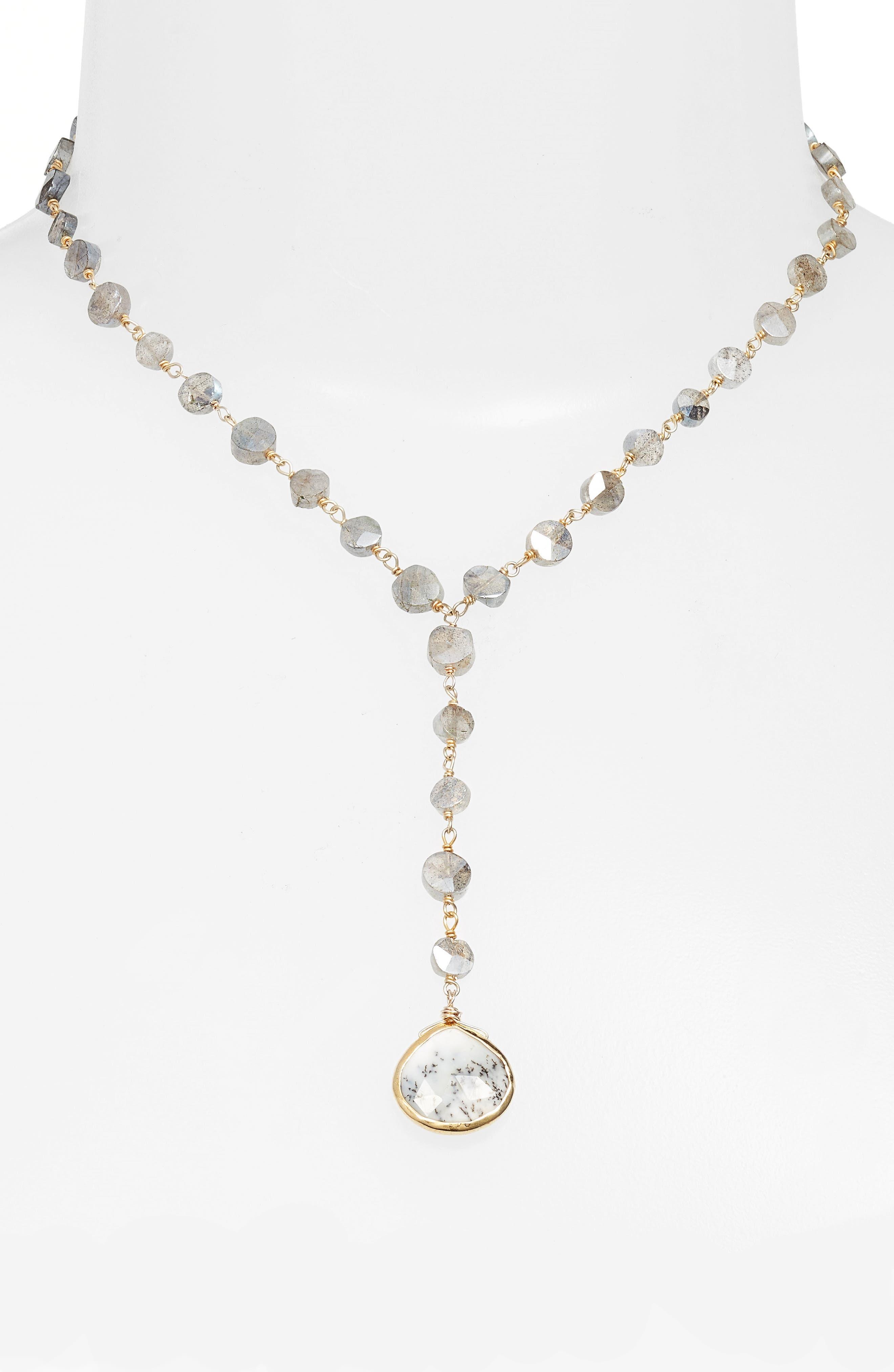 Yaeli Coin Necklace,                             Main thumbnail 1, color,                             Labradorite/ Dendrite Opal