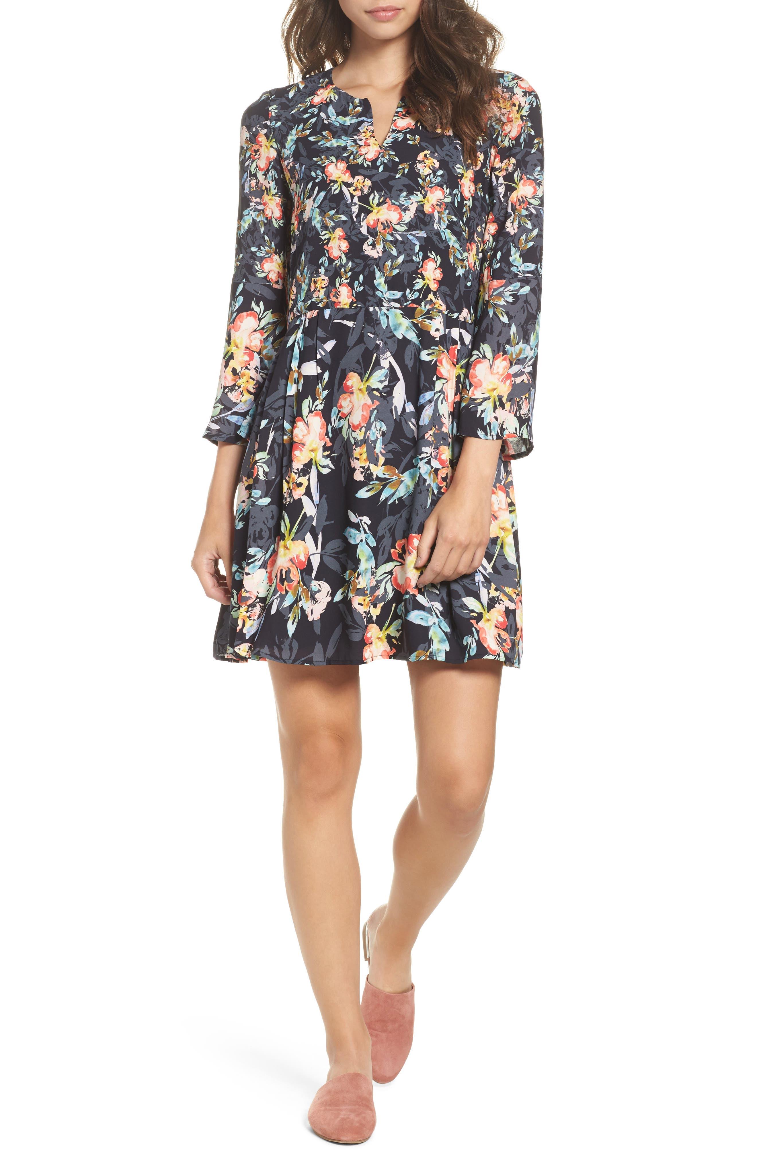 Delphine Crepe Shift Dress,                         Main,                         color, Black Multi