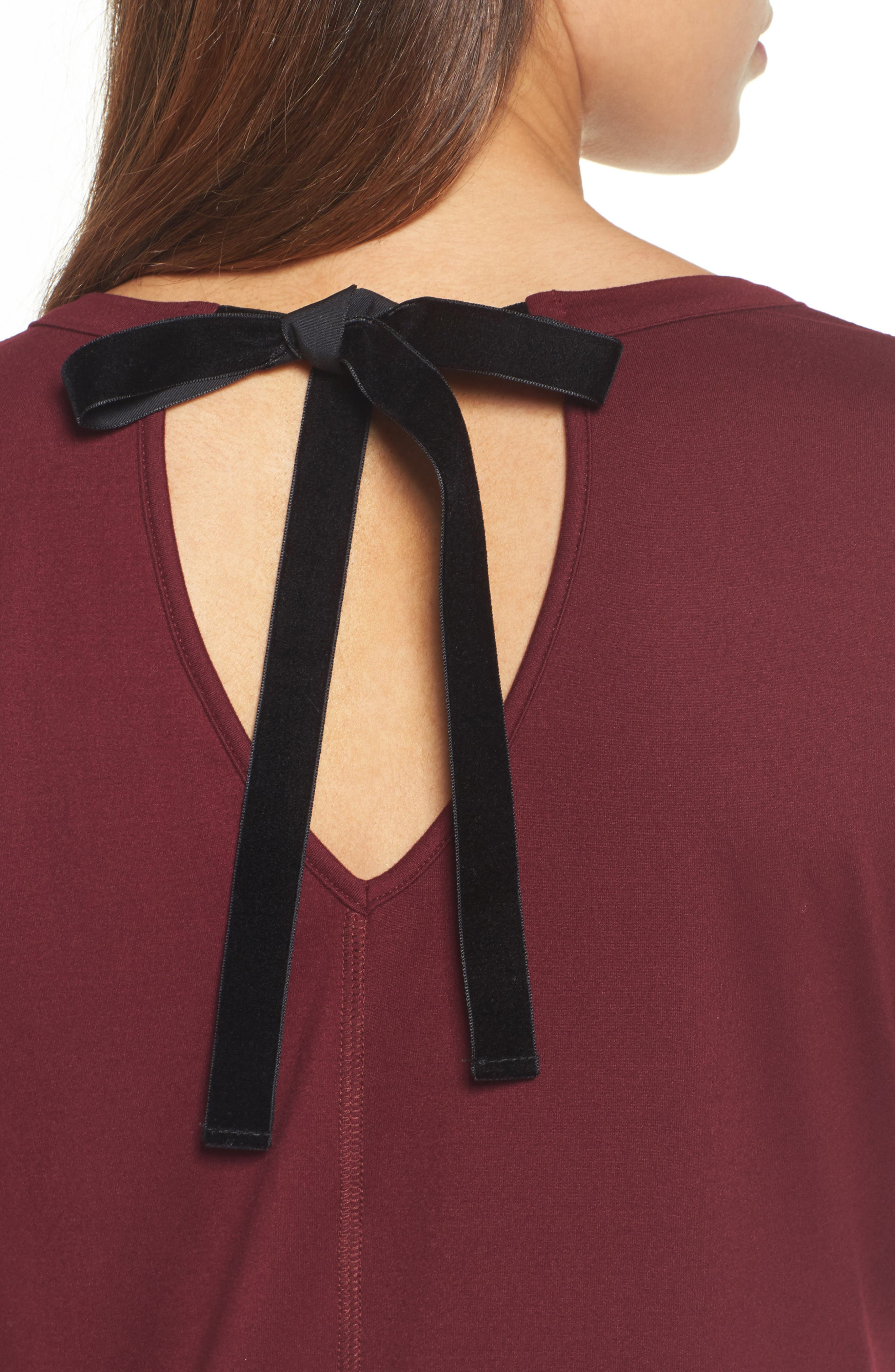 High/Low Bow Back Top,                             Alternate thumbnail 4, color,                             Burgundy