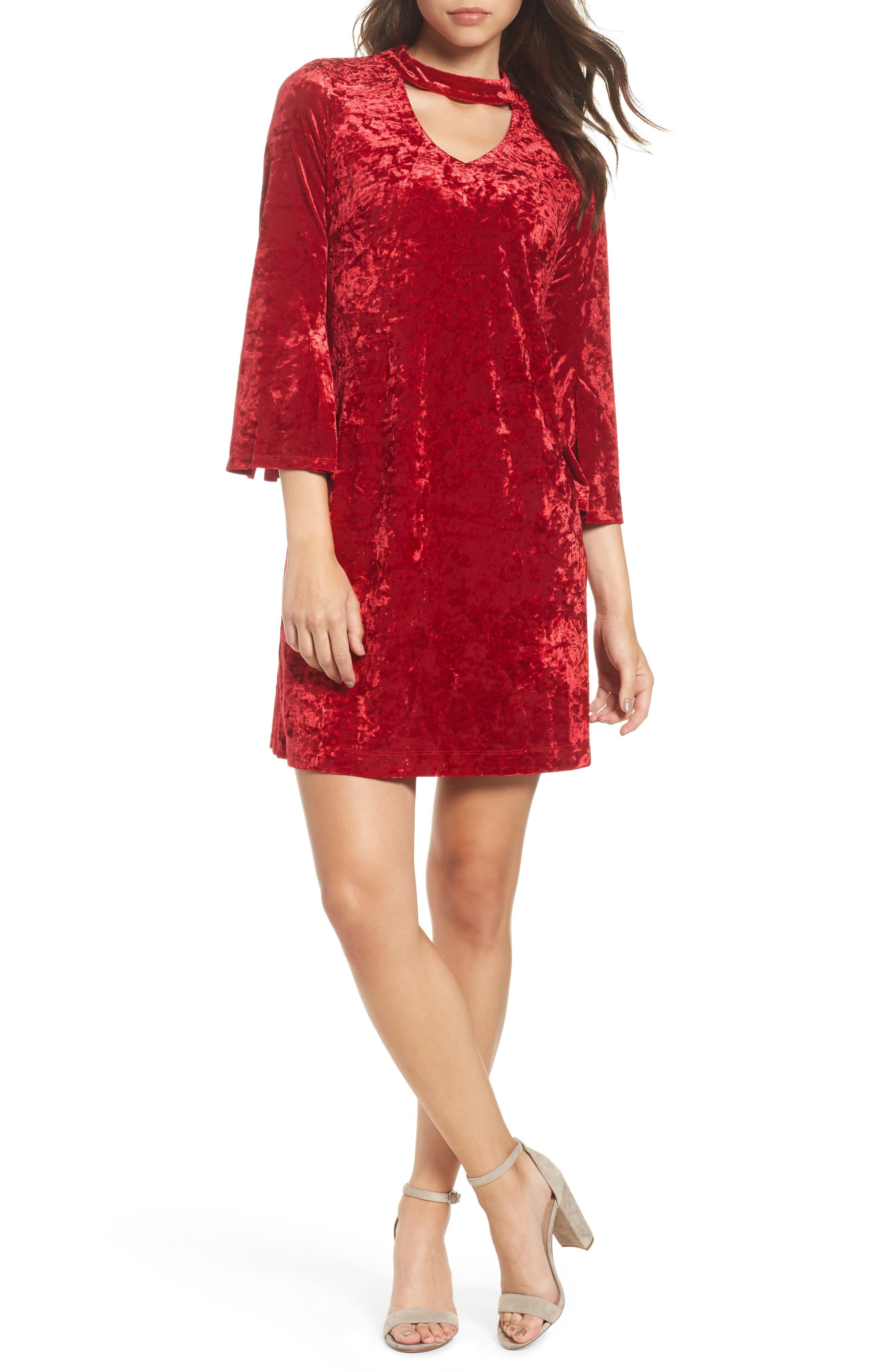 Crushed Velvet Choker Dress,                             Main thumbnail 1, color,                             Red