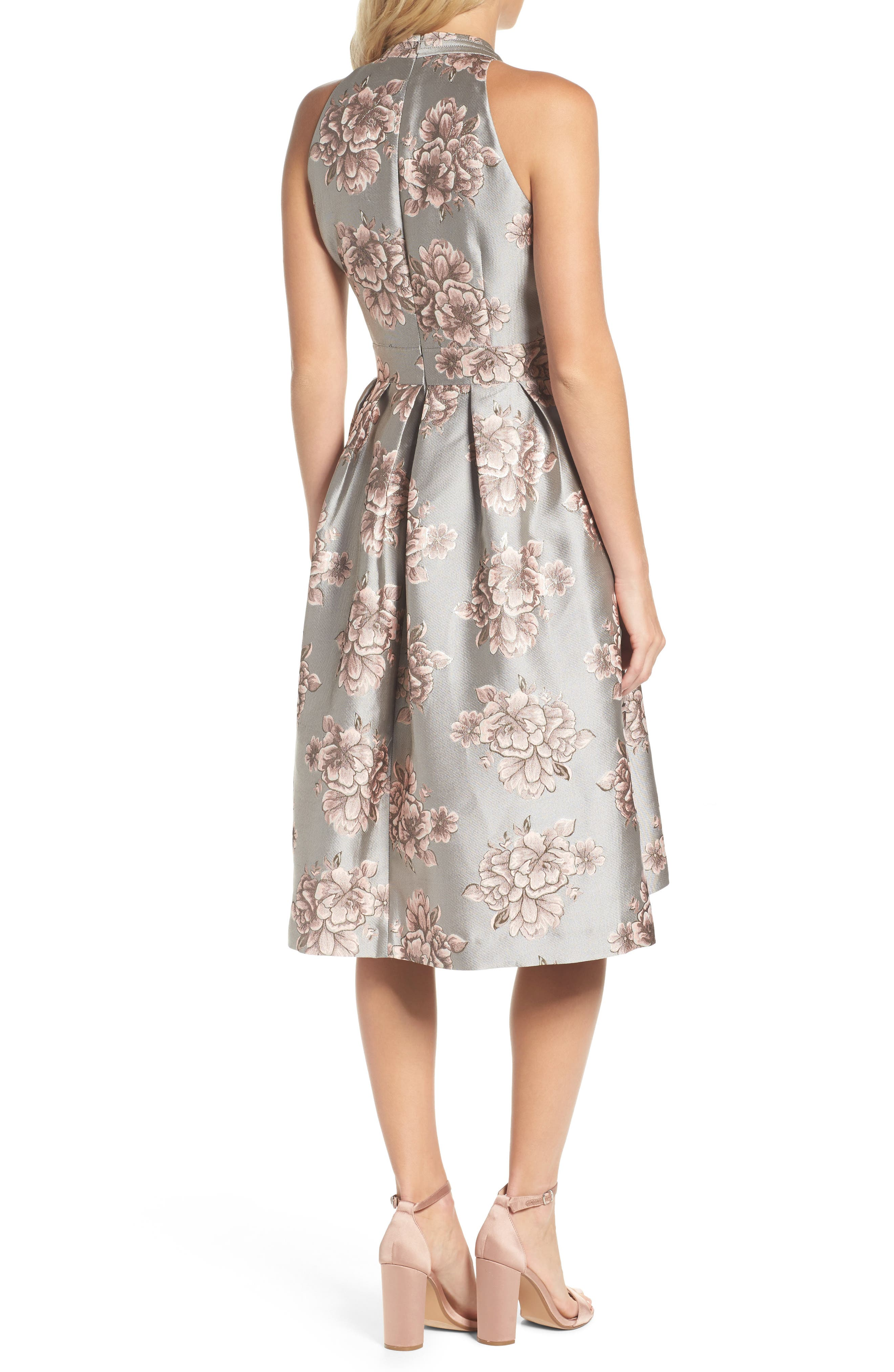 Metallic Floral Fit & Flare Dress,                             Alternate thumbnail 2, color,                             Silver/ Blush