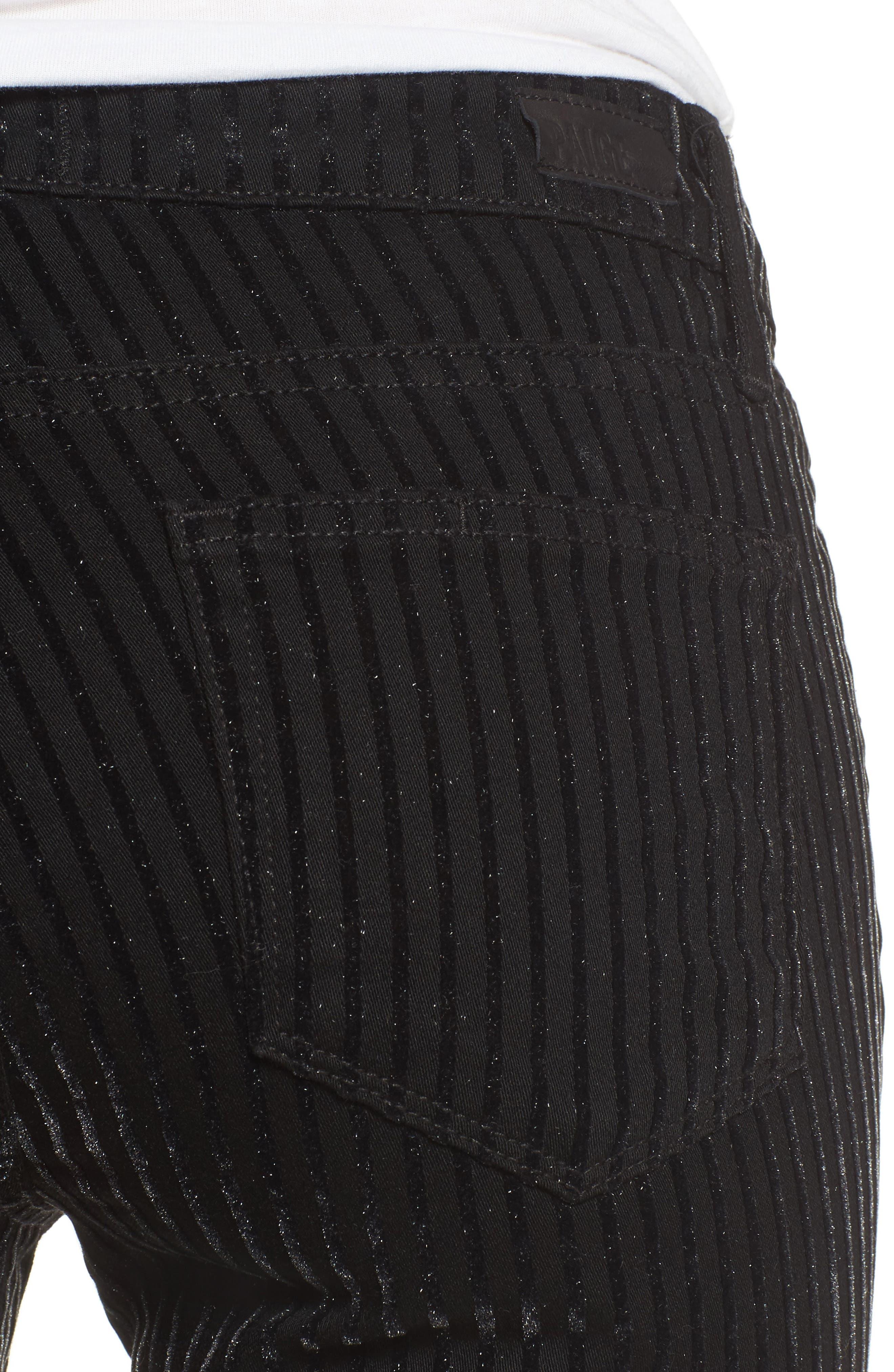 Alternate Image 4  - PAIGE Verdugo Ultra Skinny Jeans (Noir Flocked Stripe)