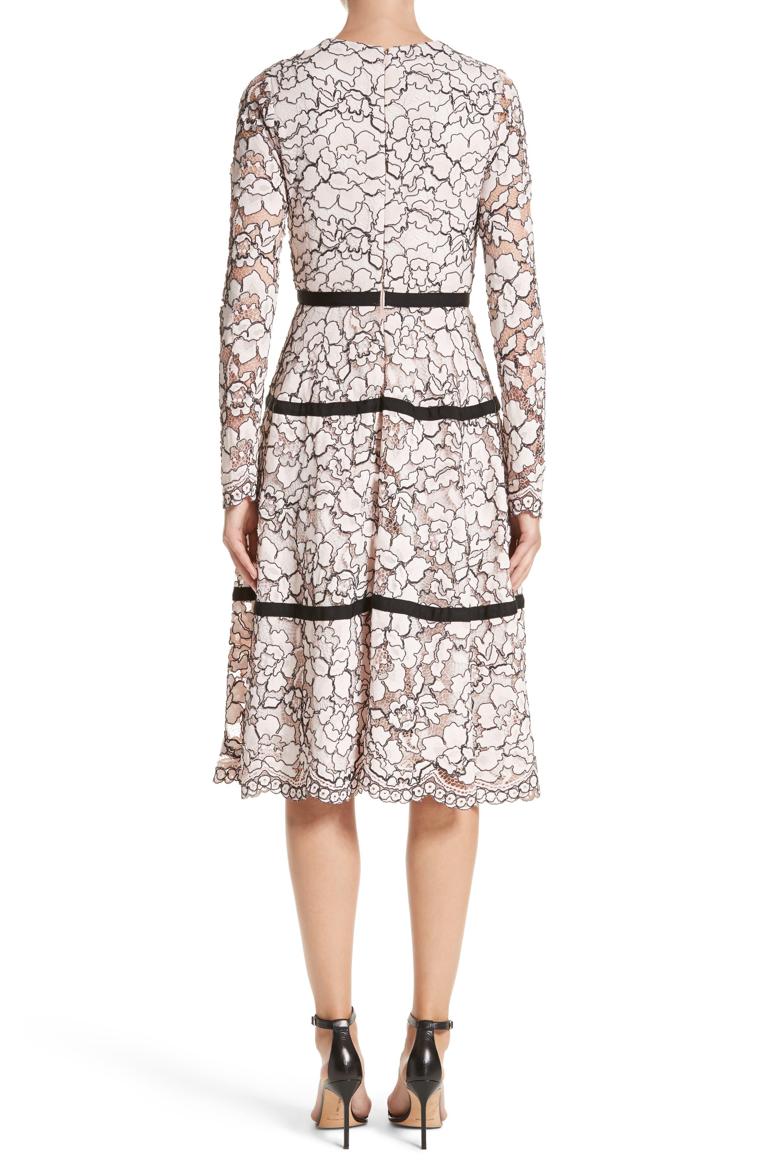 Alternate Image 3  - Lela Rose Seamed Lace A-Line Dress