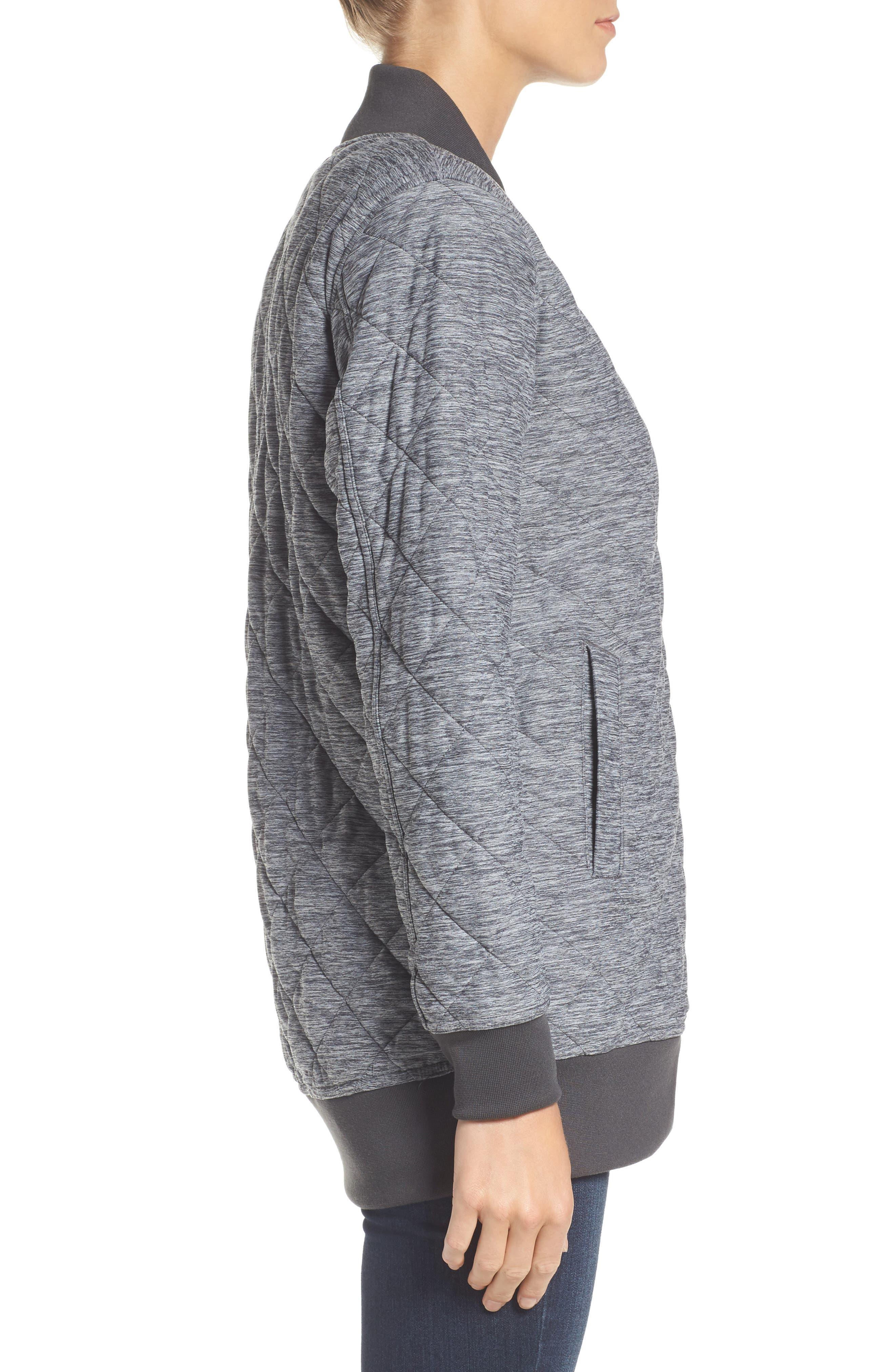 Mod Insulated Knit Jacket,                             Alternate thumbnail 4, color,                             Tnf Dark Grey Heather