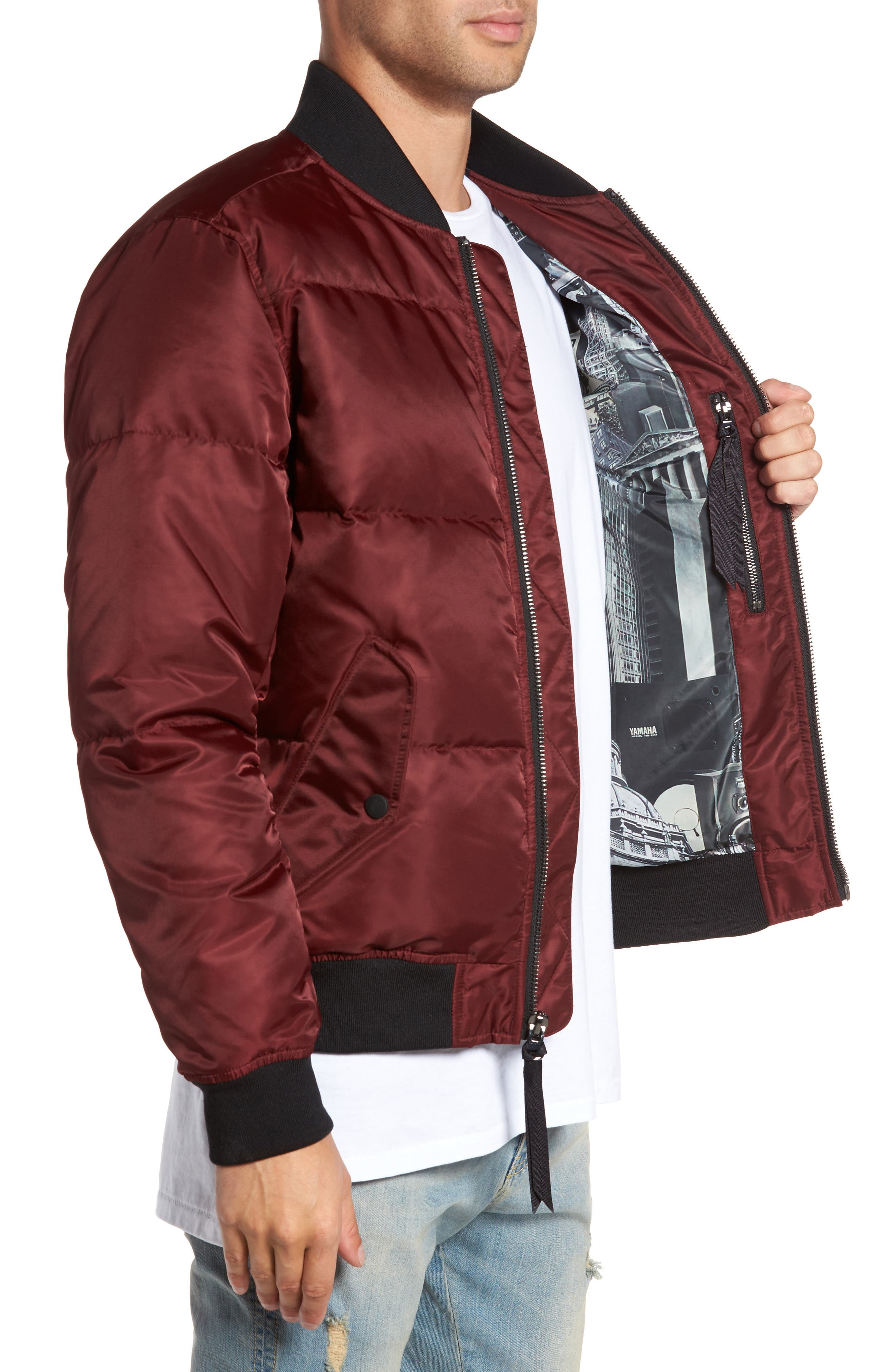 Quilted Down Bomber Jacket,                             Alternate thumbnail 3, color,                             Burgundy