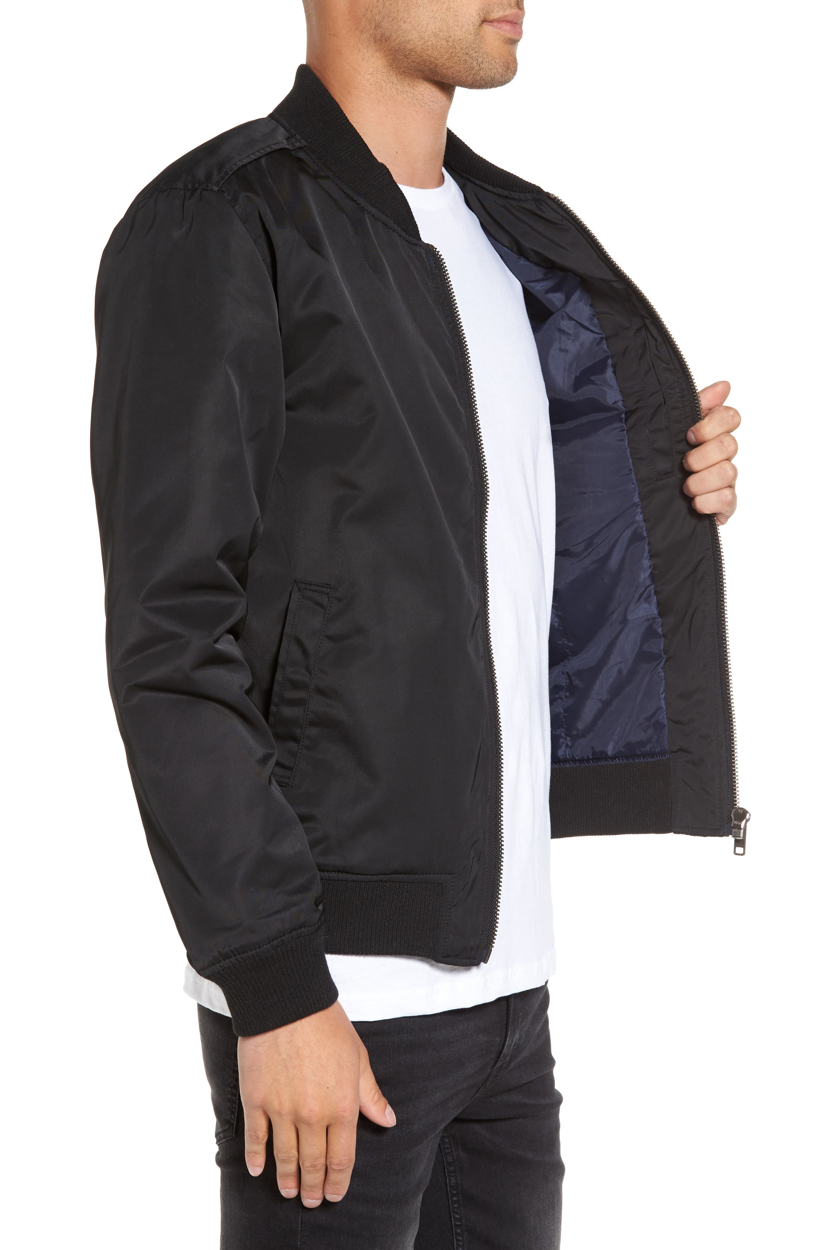 Mason Bomber Jacket,                             Alternate thumbnail 3, color,                             Black