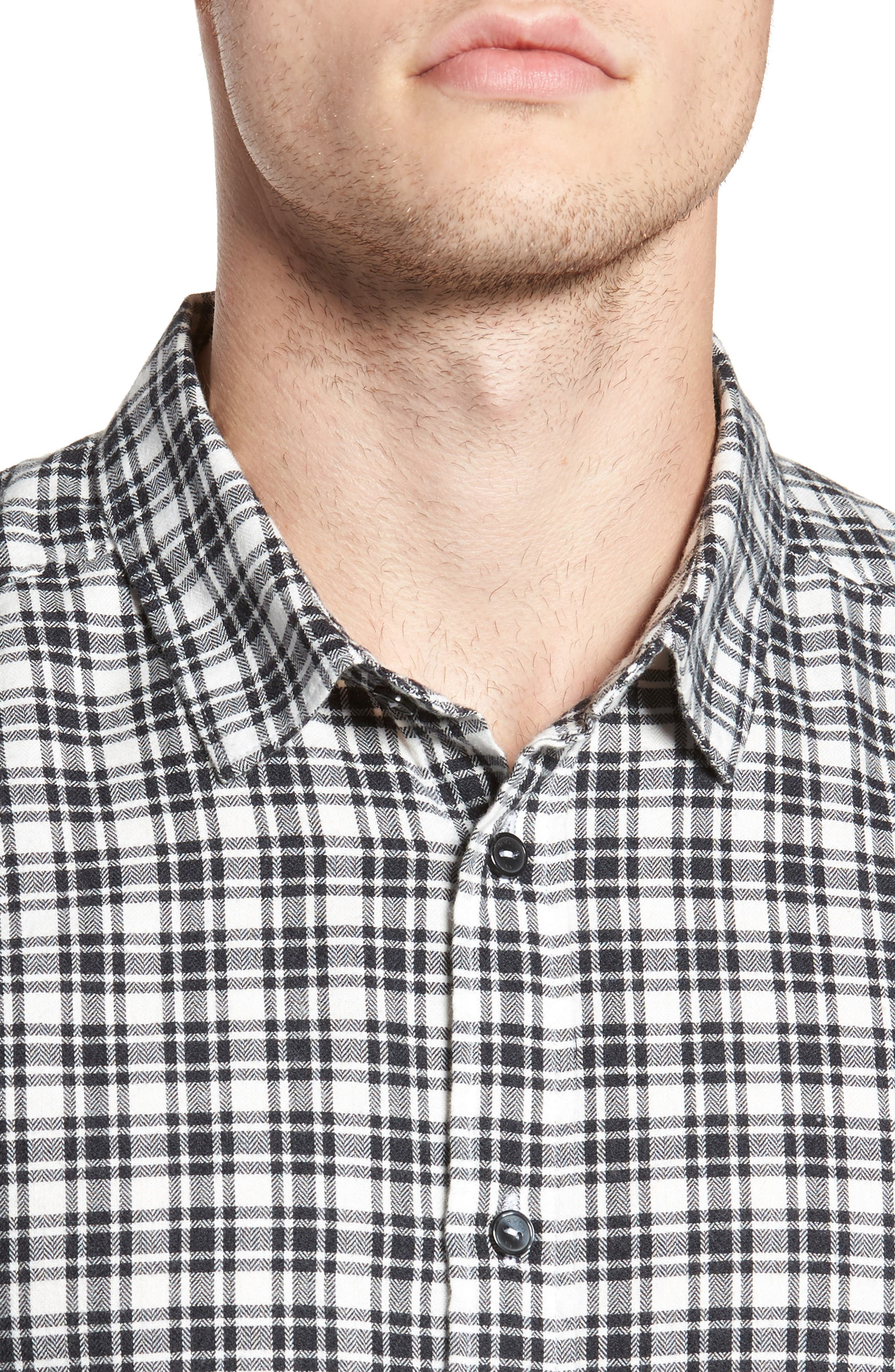Alternate Image 4  - RVCA Hayes Plaid Flannel Sport Shirt