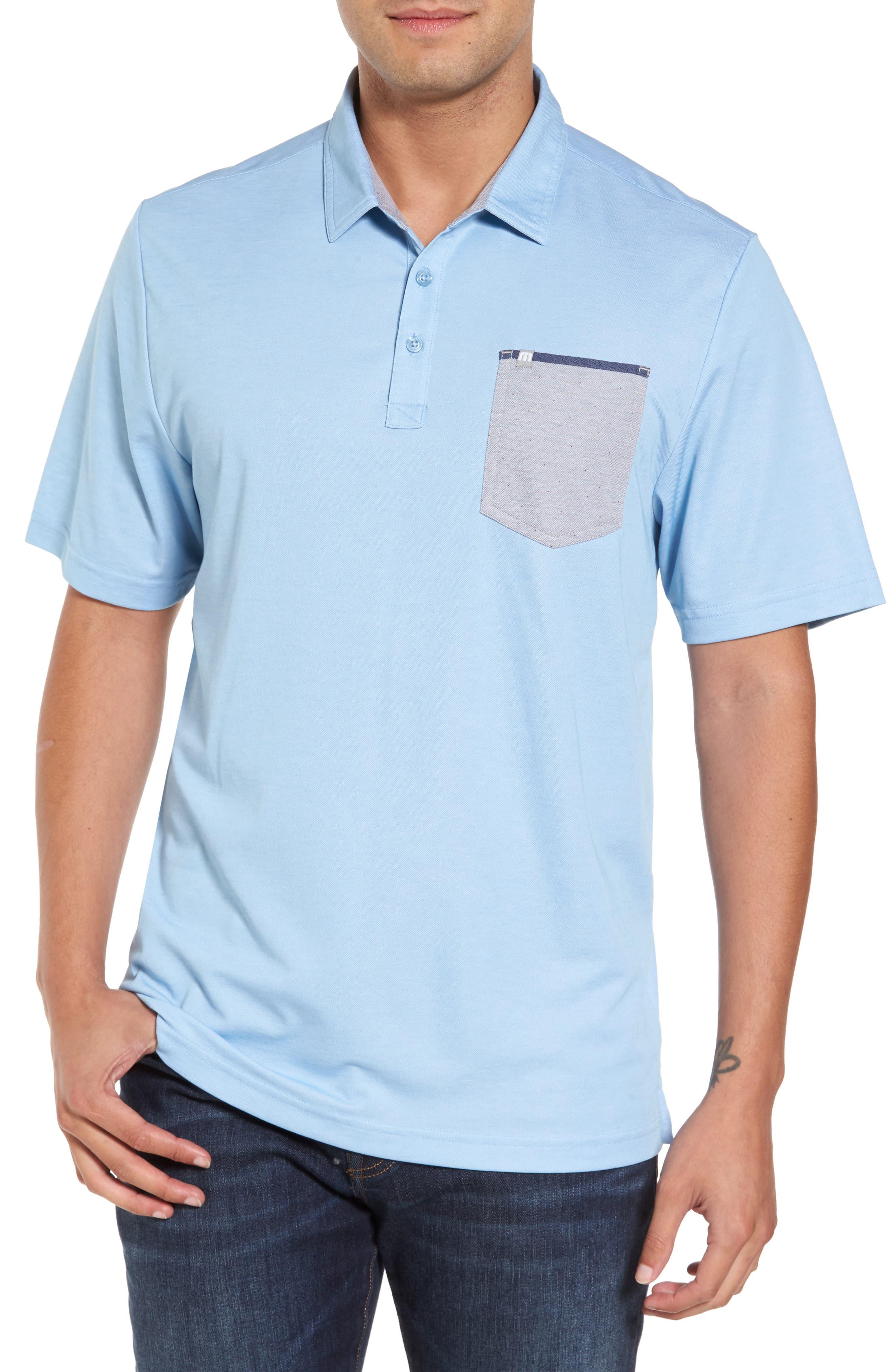 Freeburg Pocket Polo,                         Main,                         color, Heather Dusk Blue