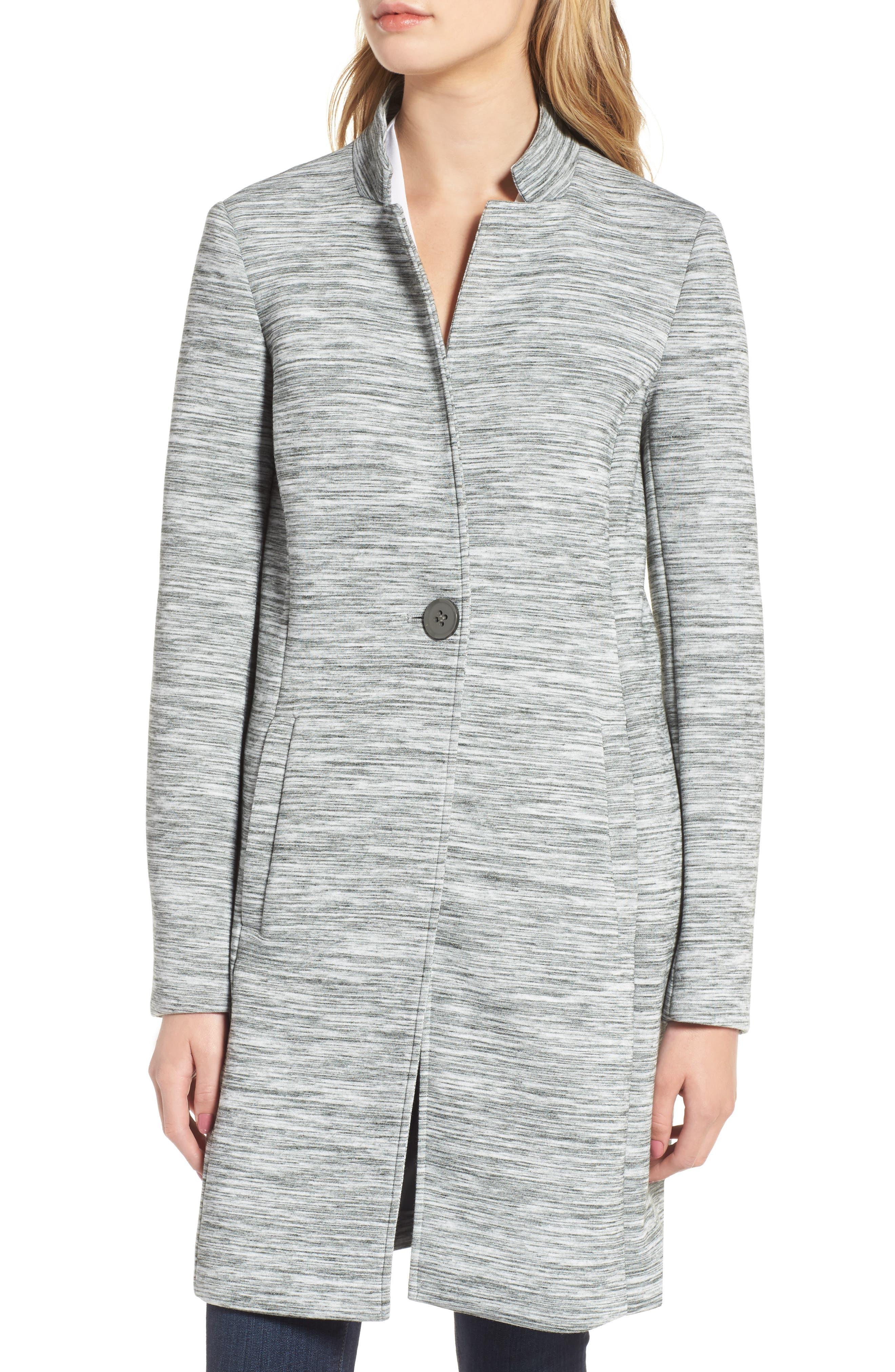 Knit Coat,                             Alternate thumbnail 4, color,                             Light Grey