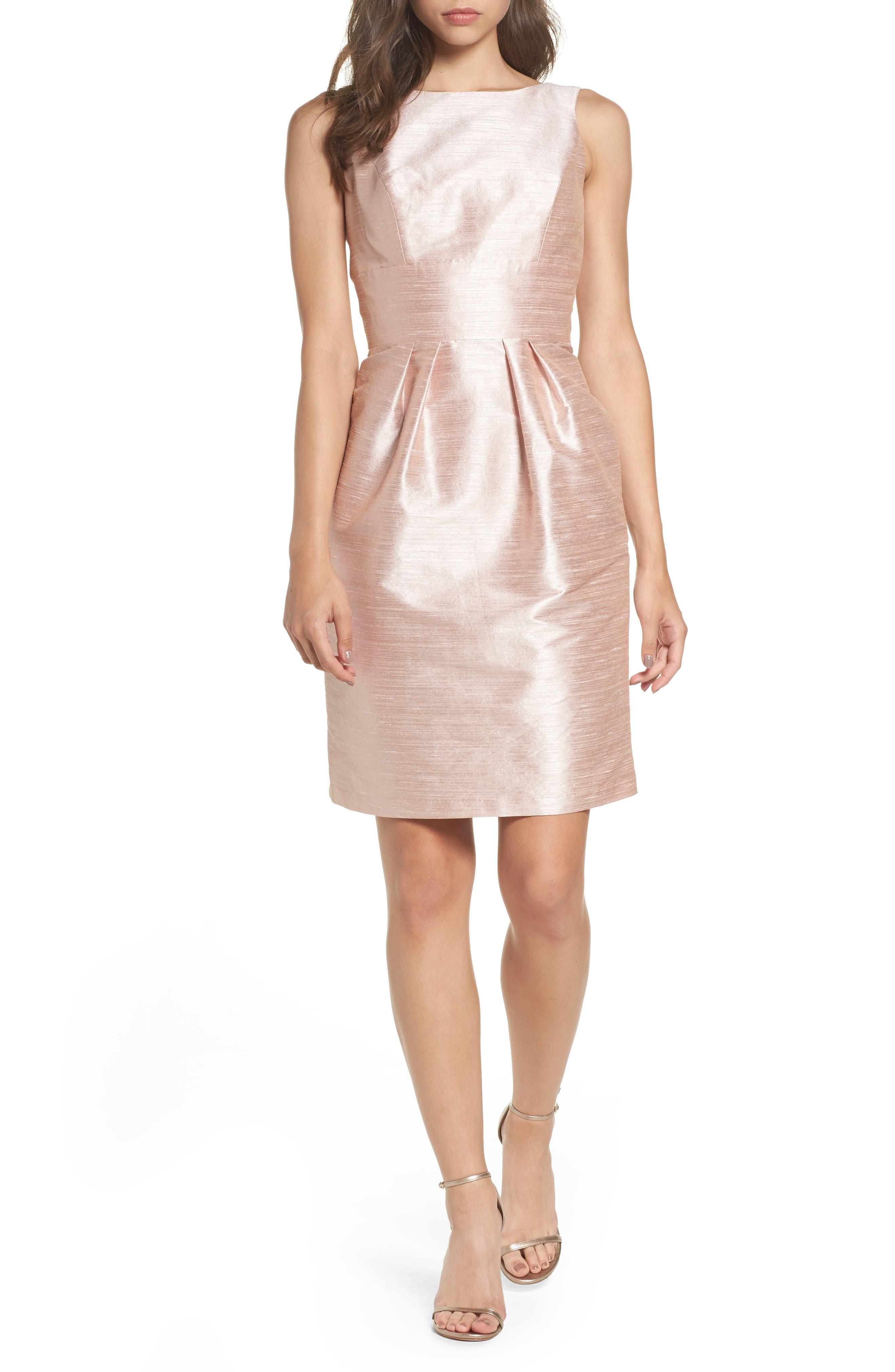 Boatneck Sheath Dress,                             Main thumbnail 1, color,                             Pearl Pink