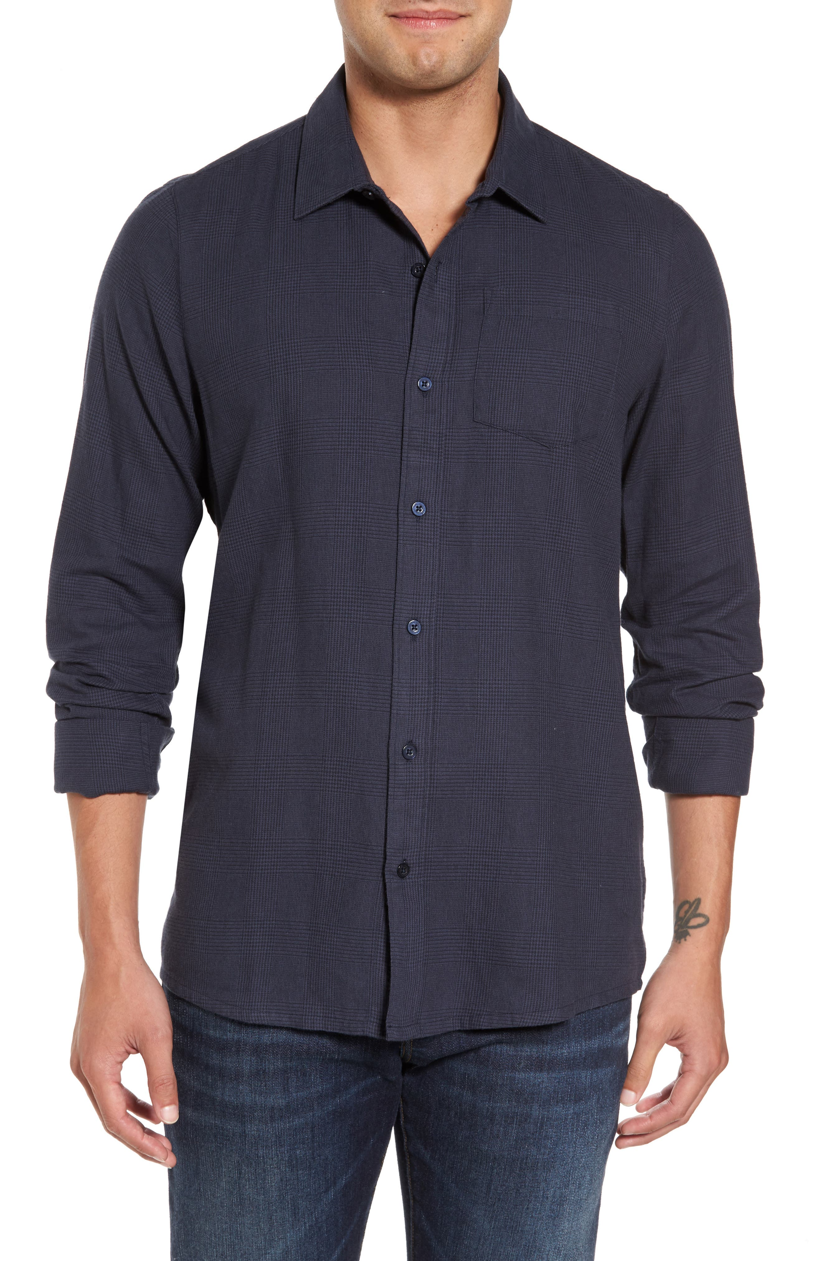 Overly Glen Plaid Sport Shirt,                         Main,                         color, Blue Nights