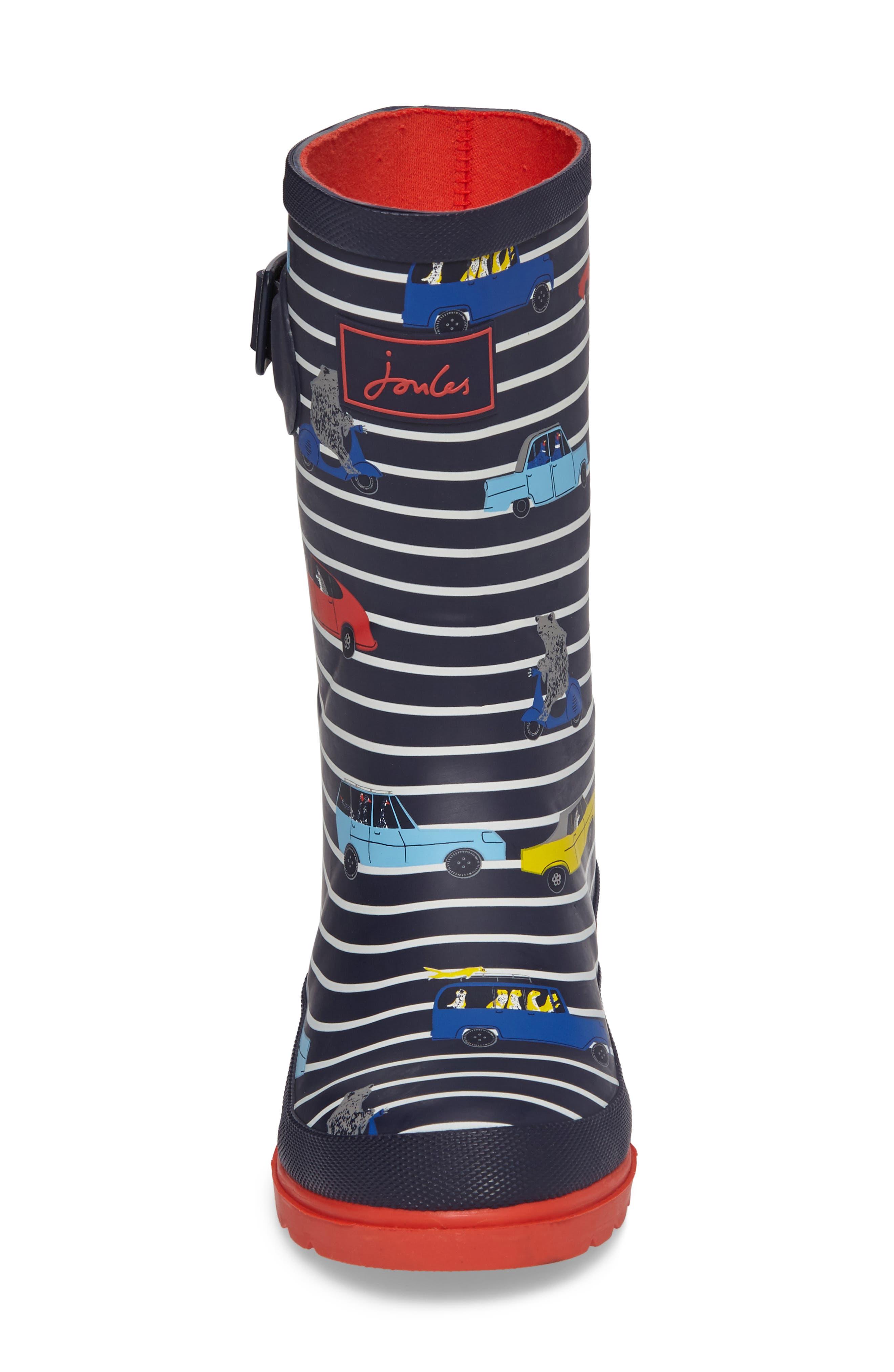 Printed Waterproof Rain Boot,                             Alternate thumbnail 4, color,                             Navy Stripe Cars