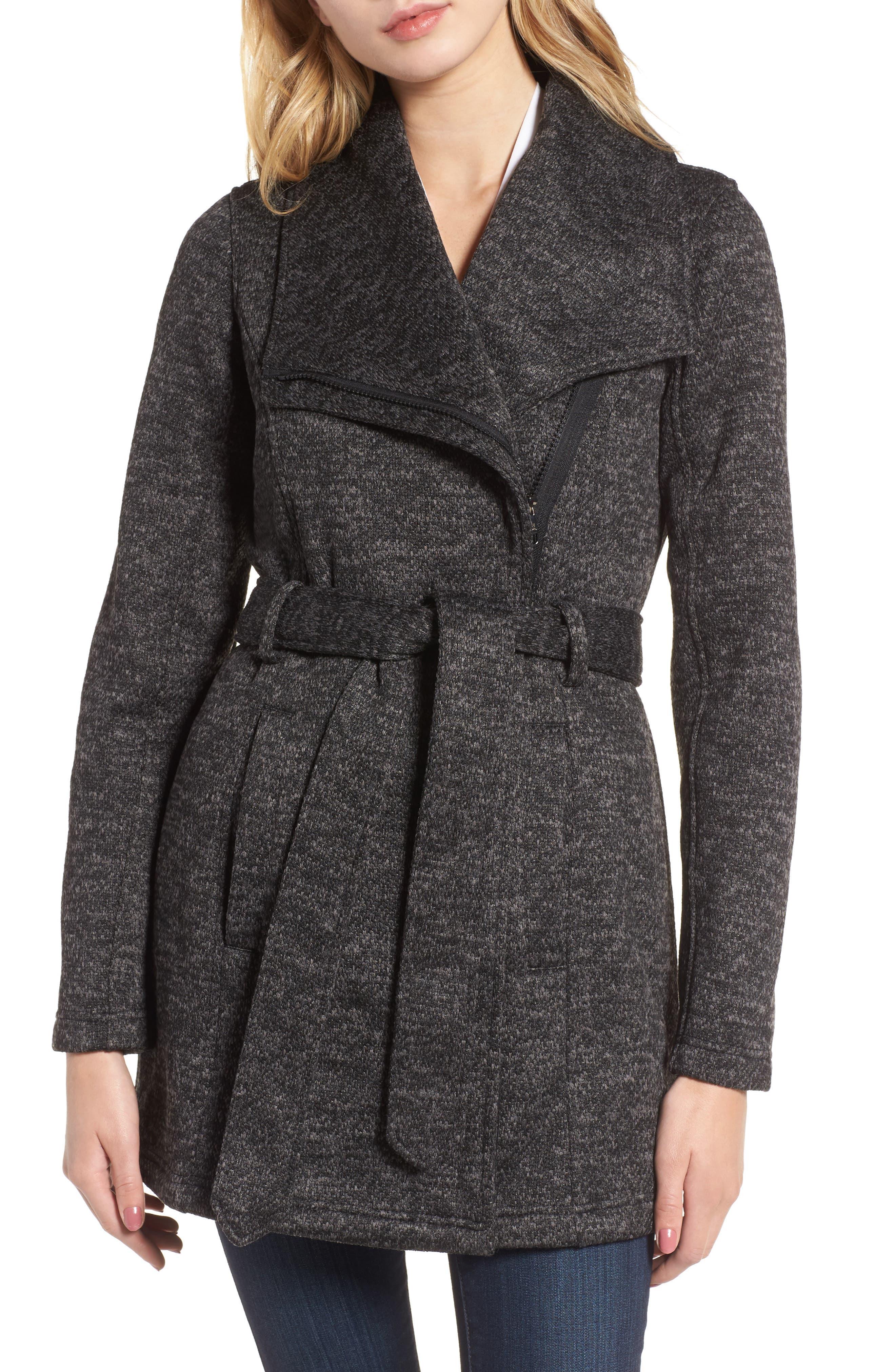 Fleece Wrap Coat,                         Main,                         color, Charcoal Heather