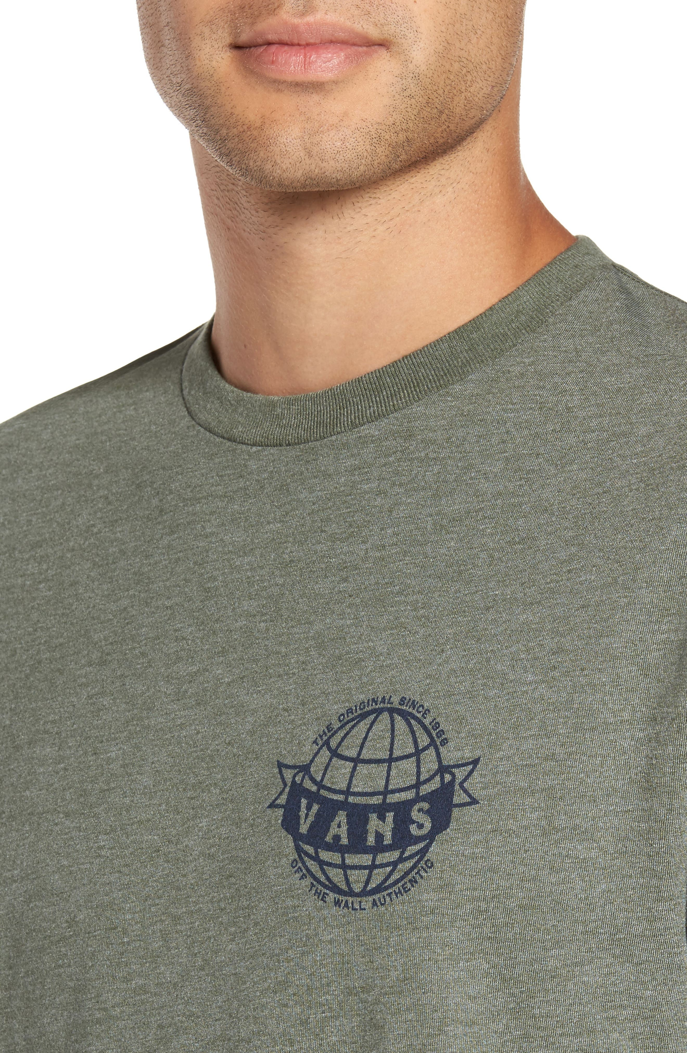 Global Landing Logo Graphic T-Shirt,                             Alternate thumbnail 4, color,                             Olive Heather